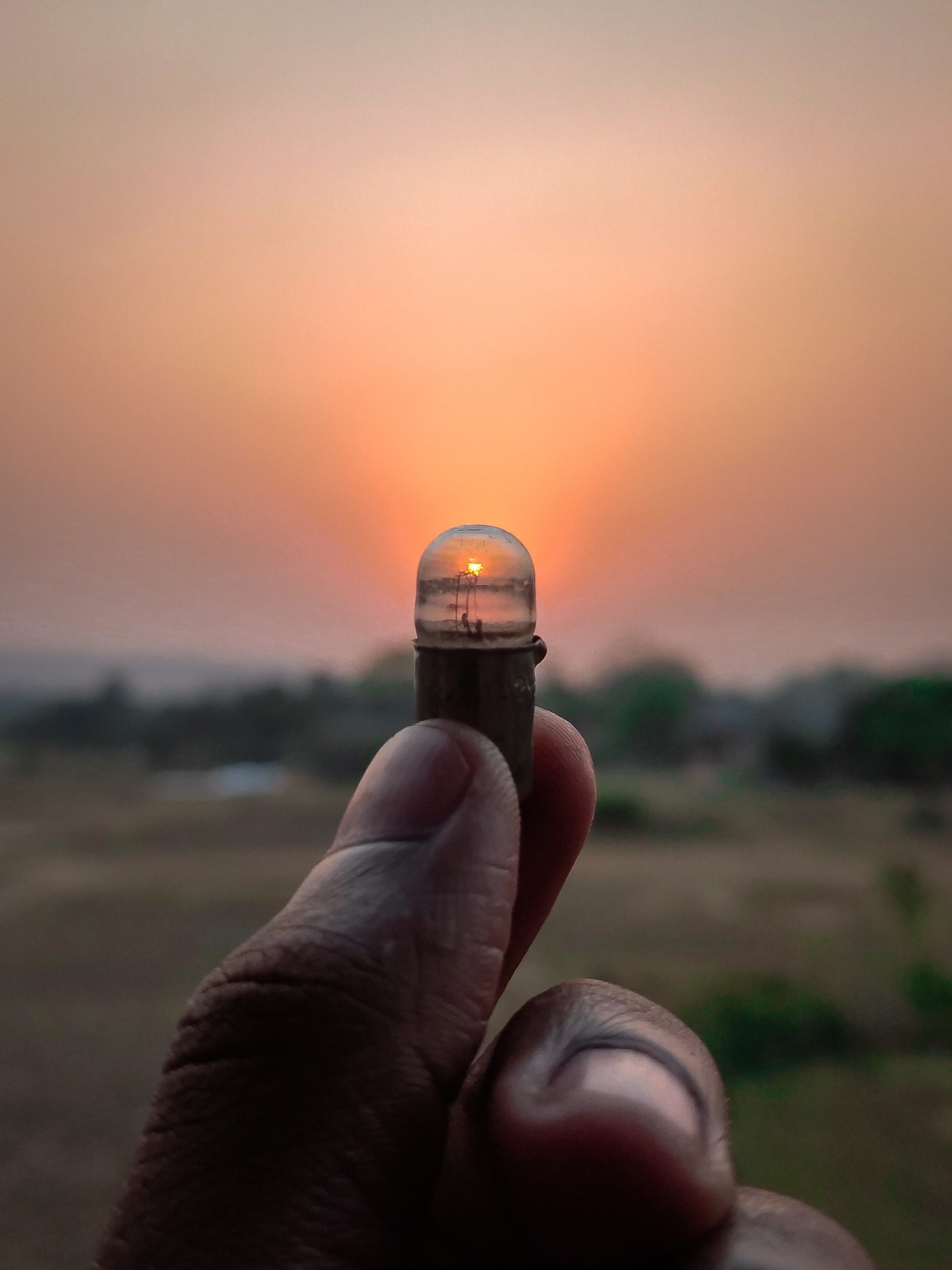 A LED bulb in hand