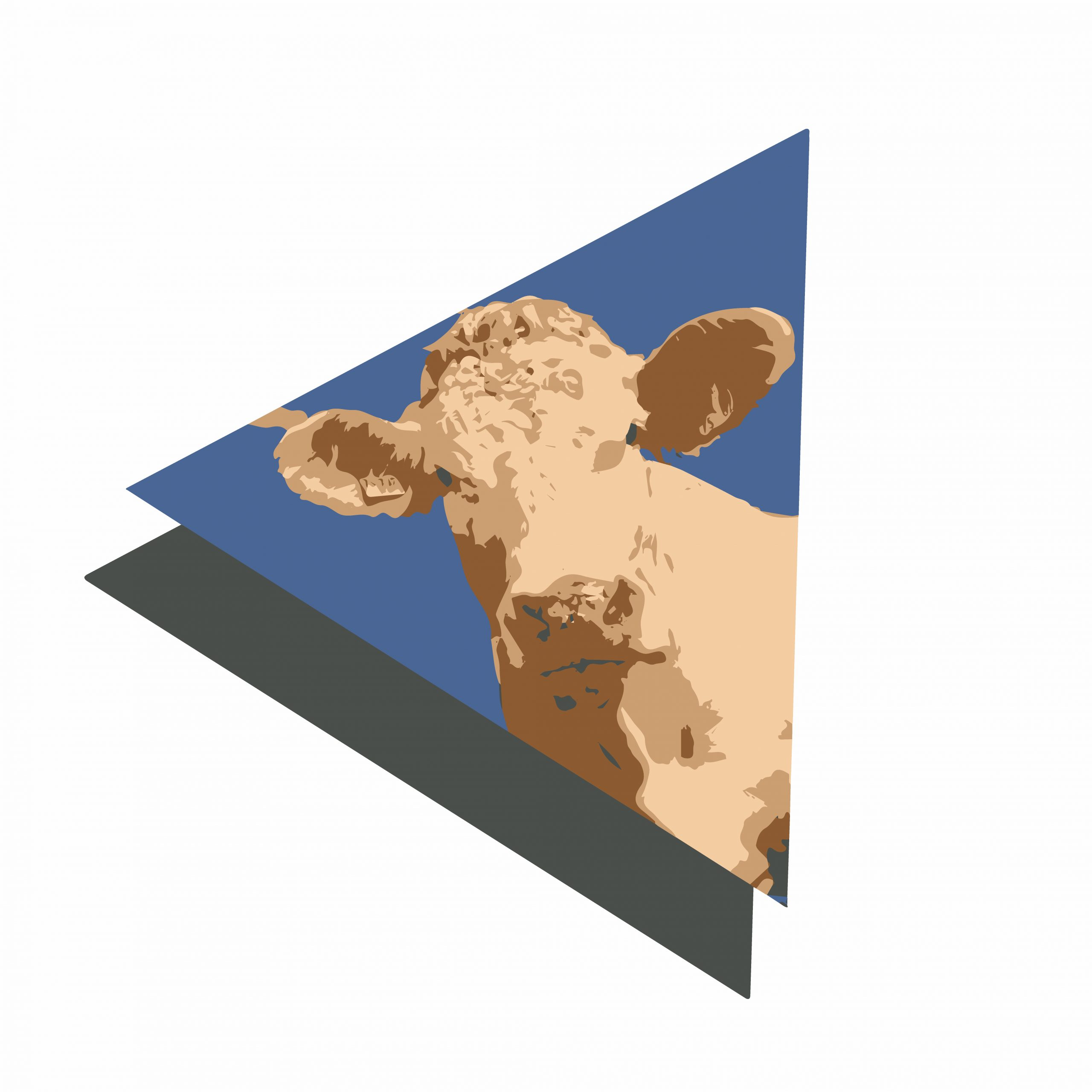 A cow illustration in a triangular design