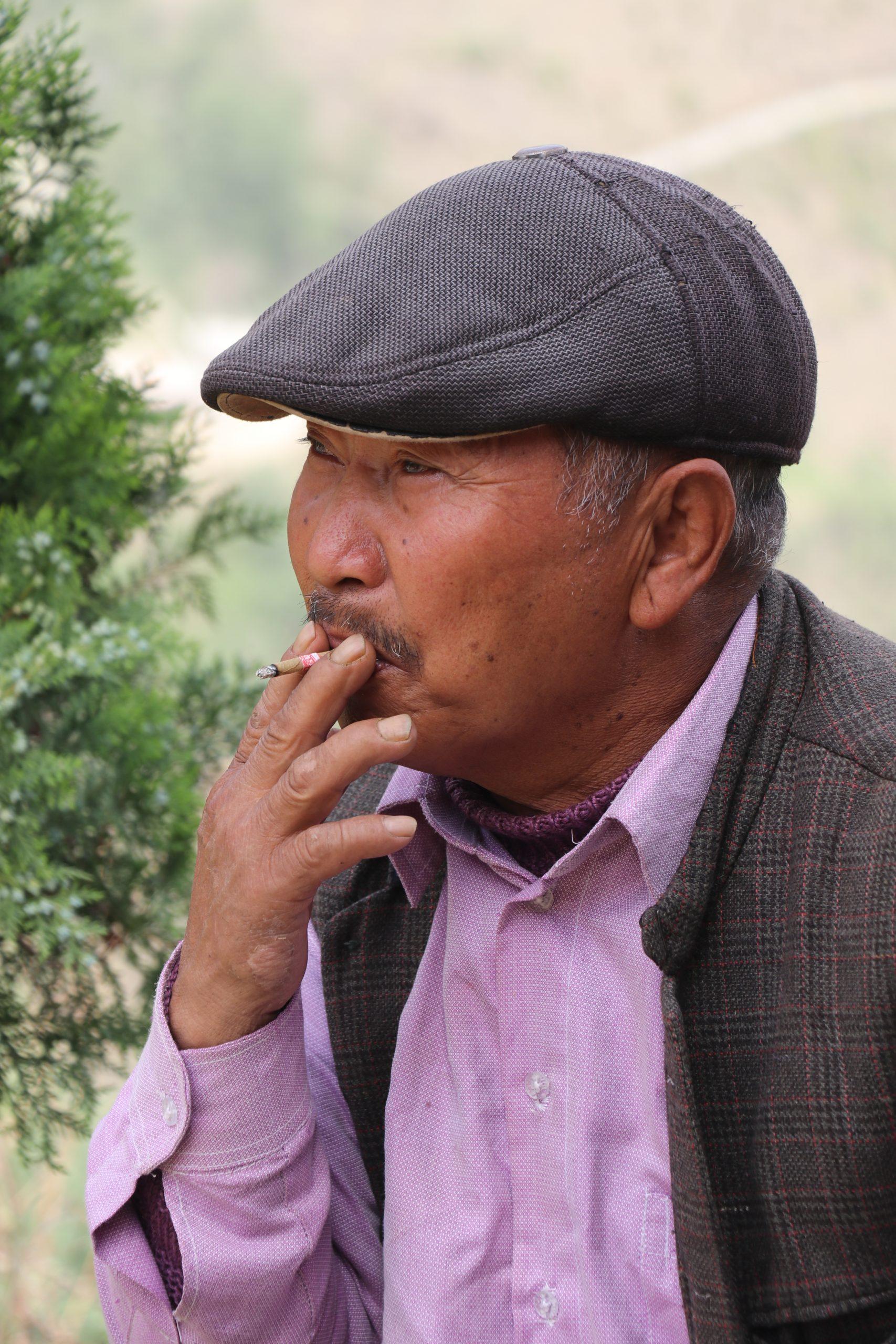 A smoking man
