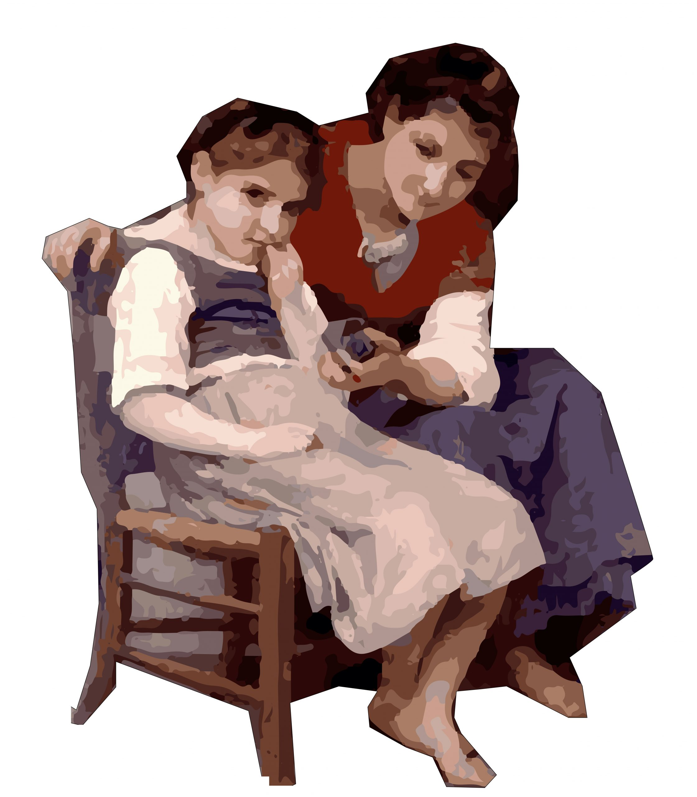 A woman and daughter illustration
