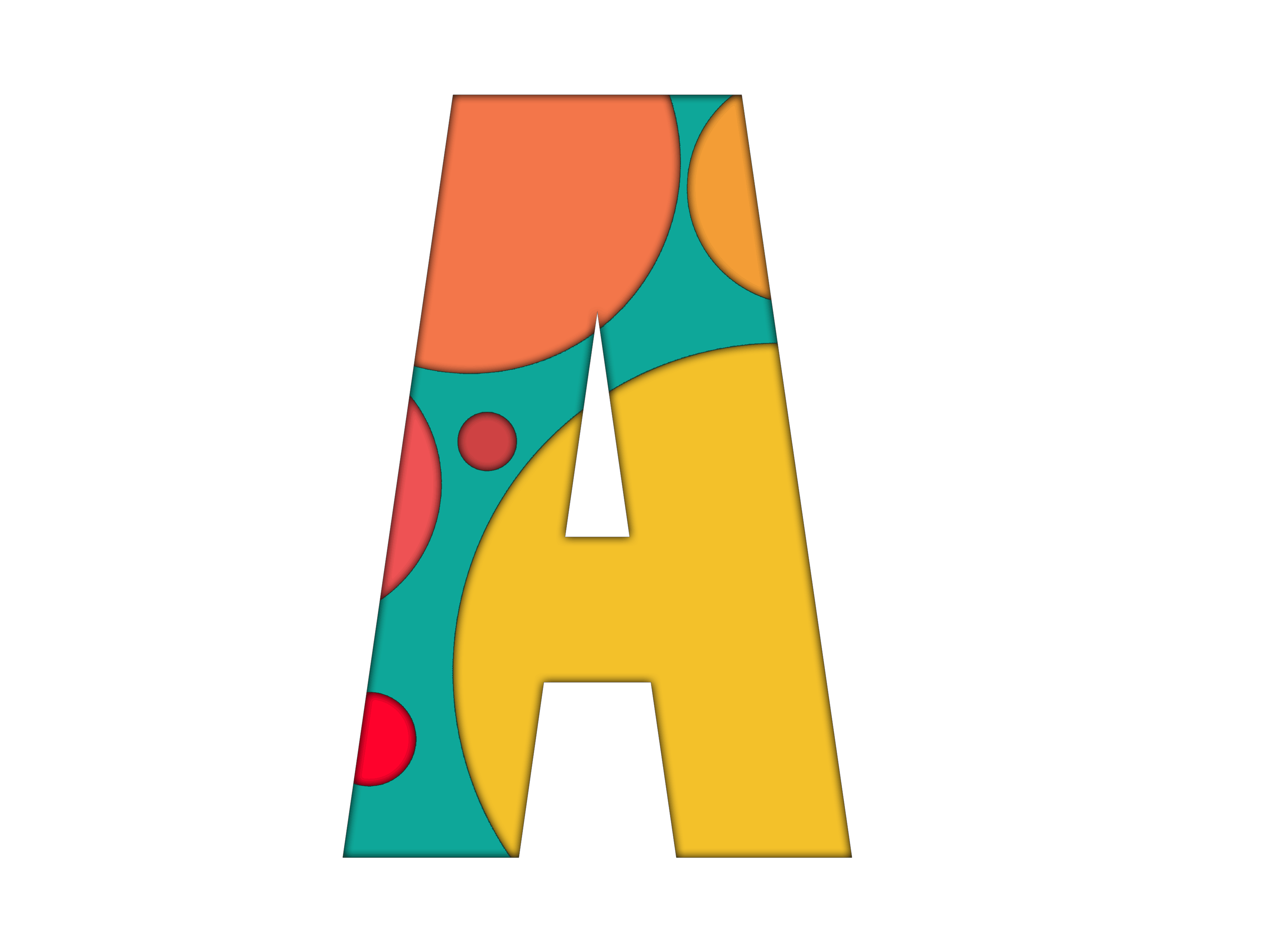 """illustration of letter """"A"""" with some circles"""
