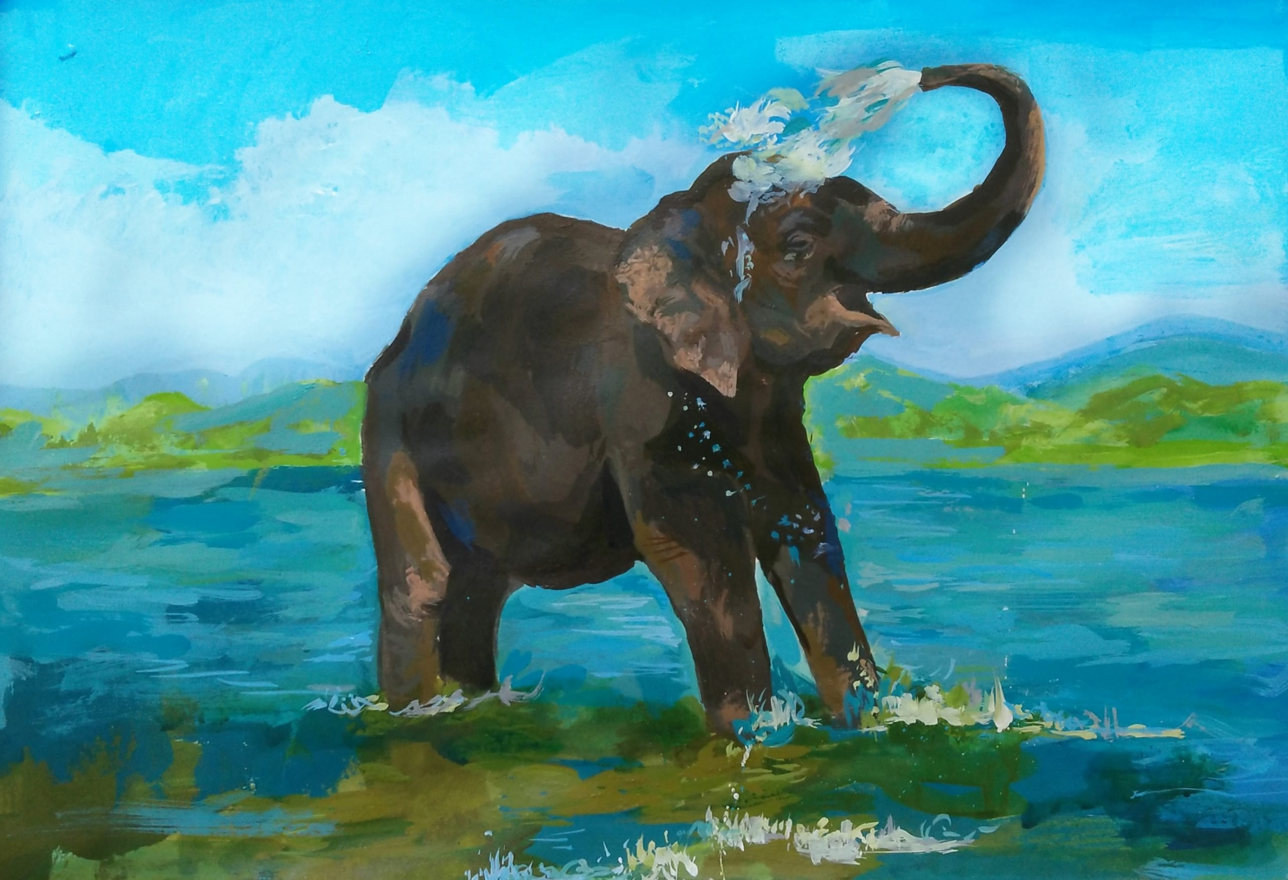 An elephant in water painting