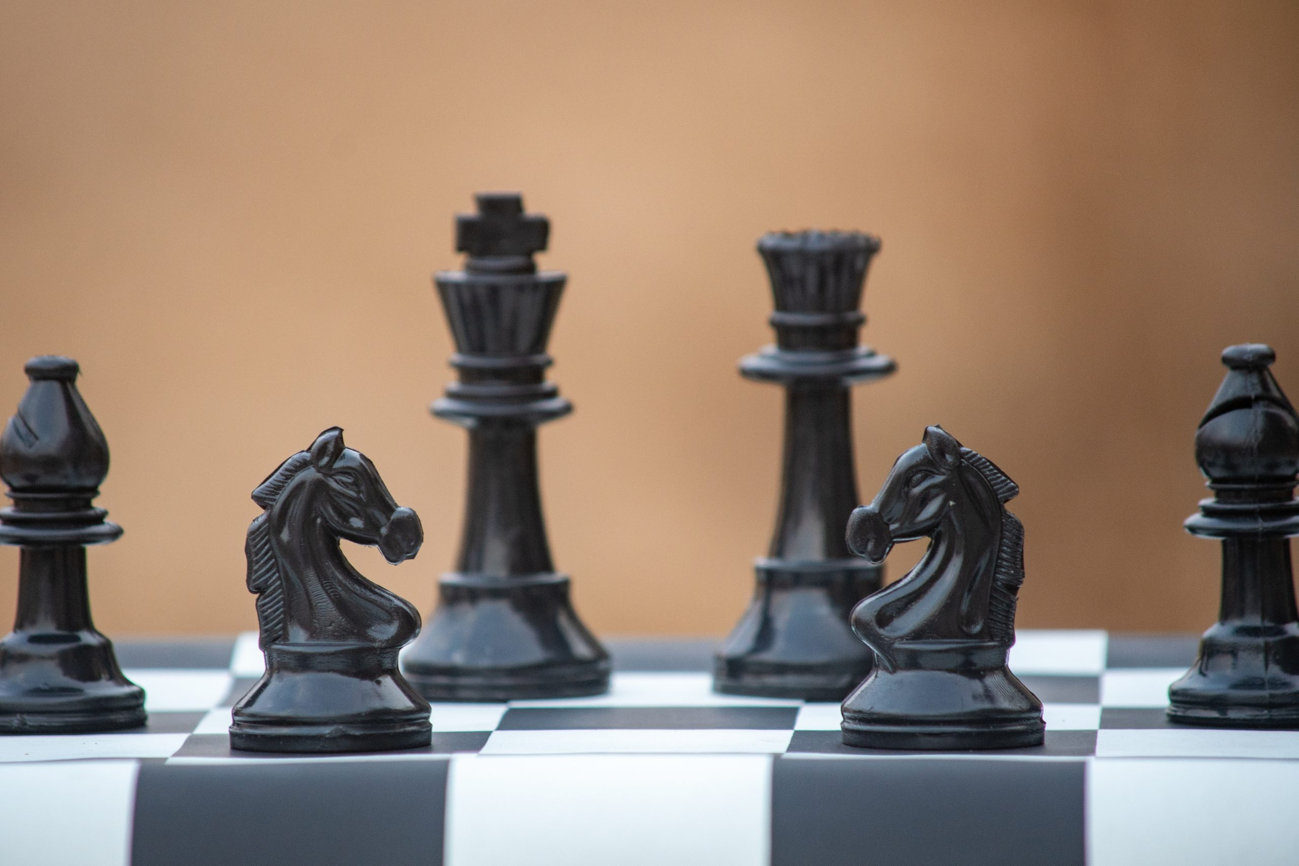 Black knights of chess pieces