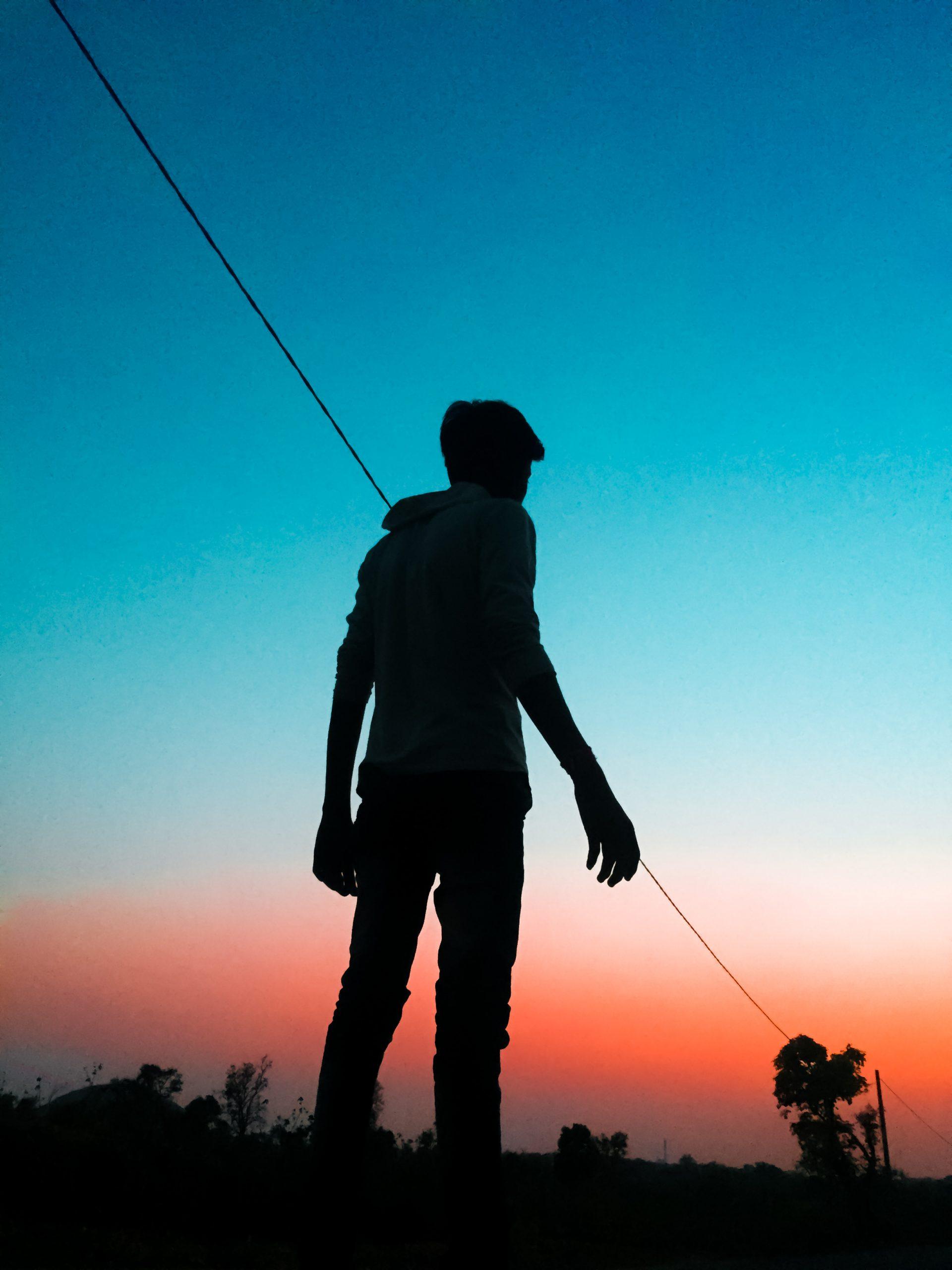 Boy in silhouette