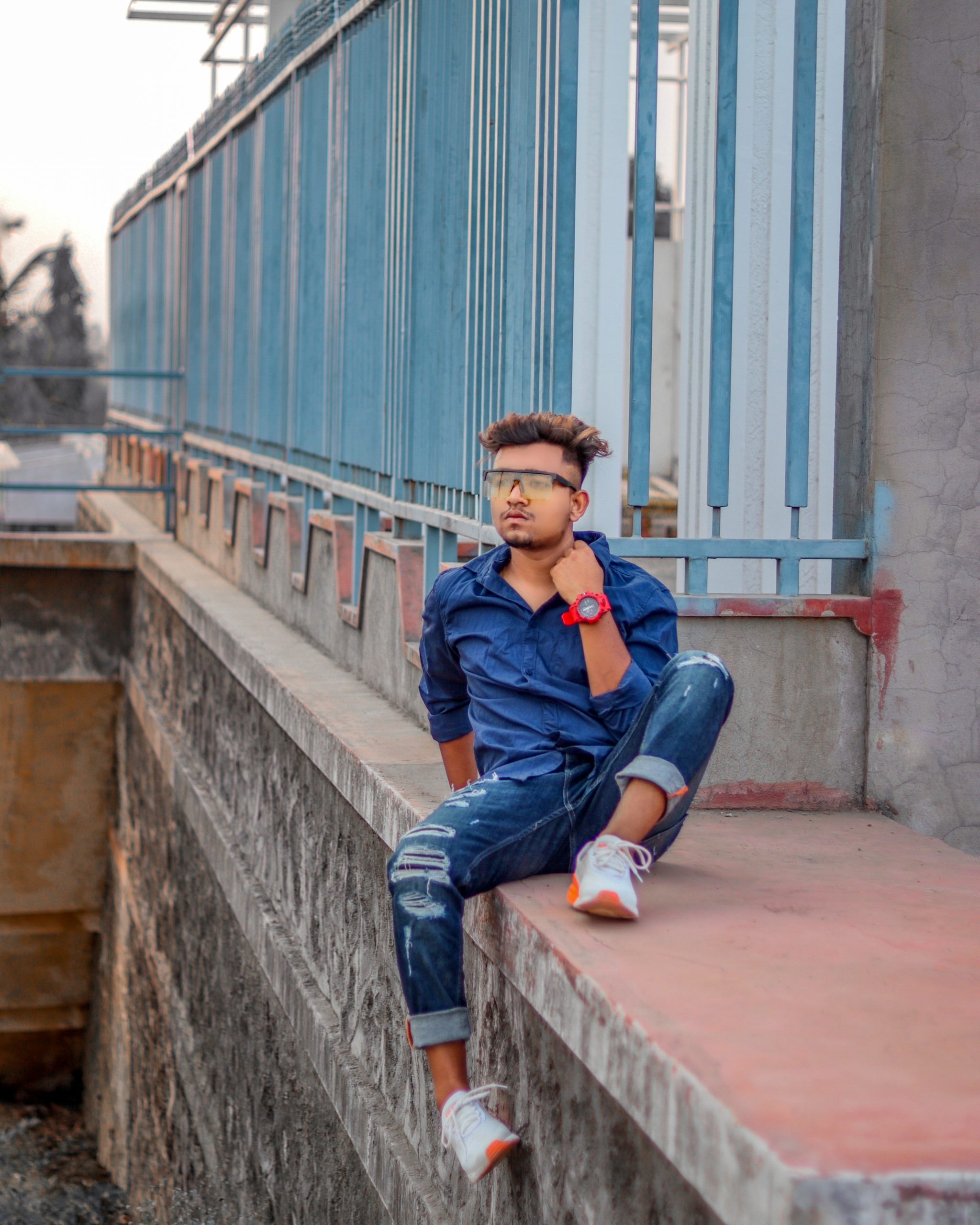 Boy posing with style
