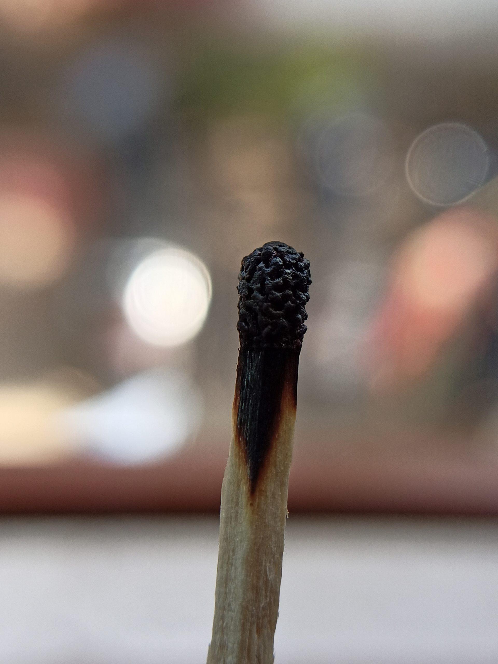 Burned matchstick