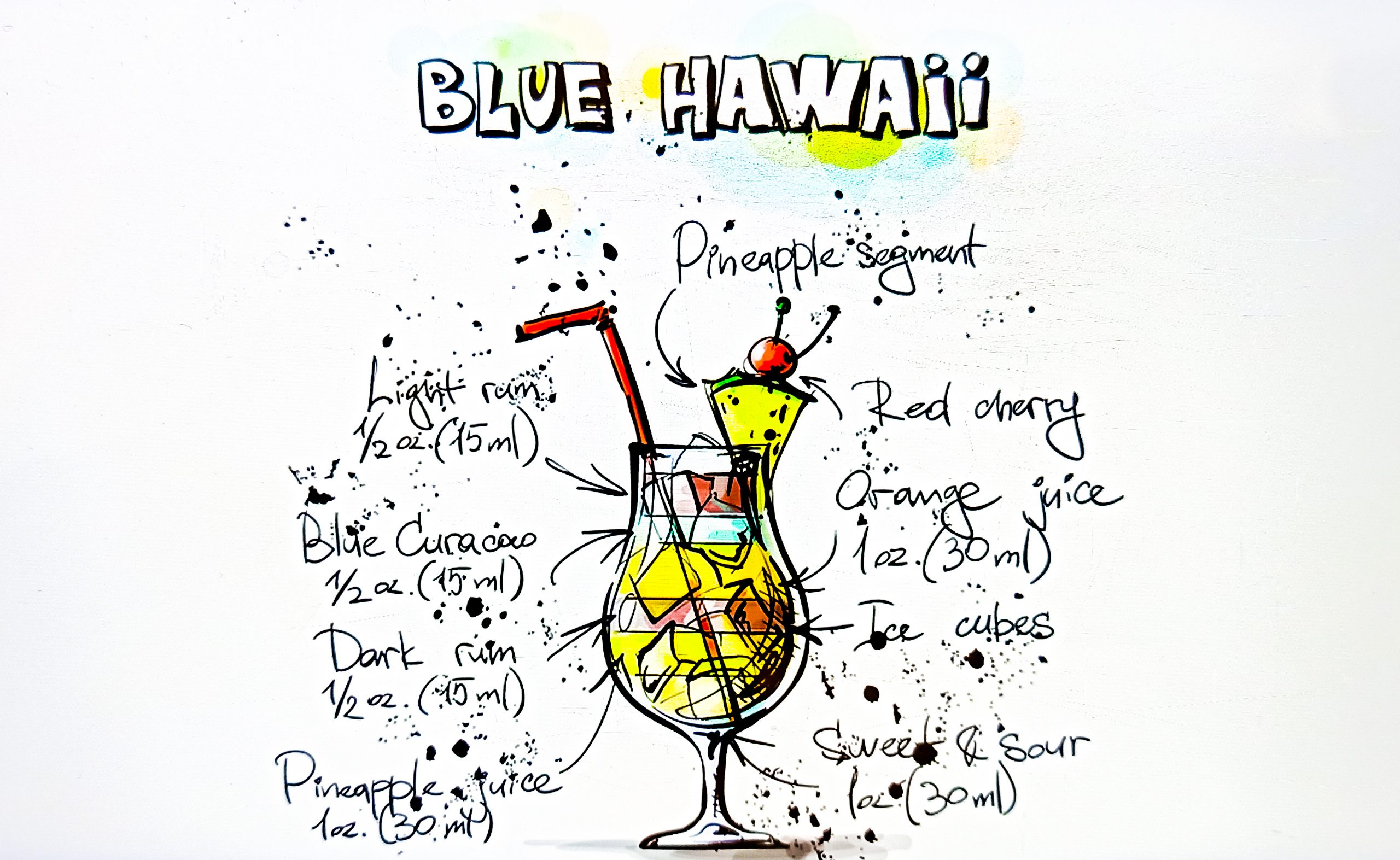 Cocktail drink Blue Hawaii Illustration