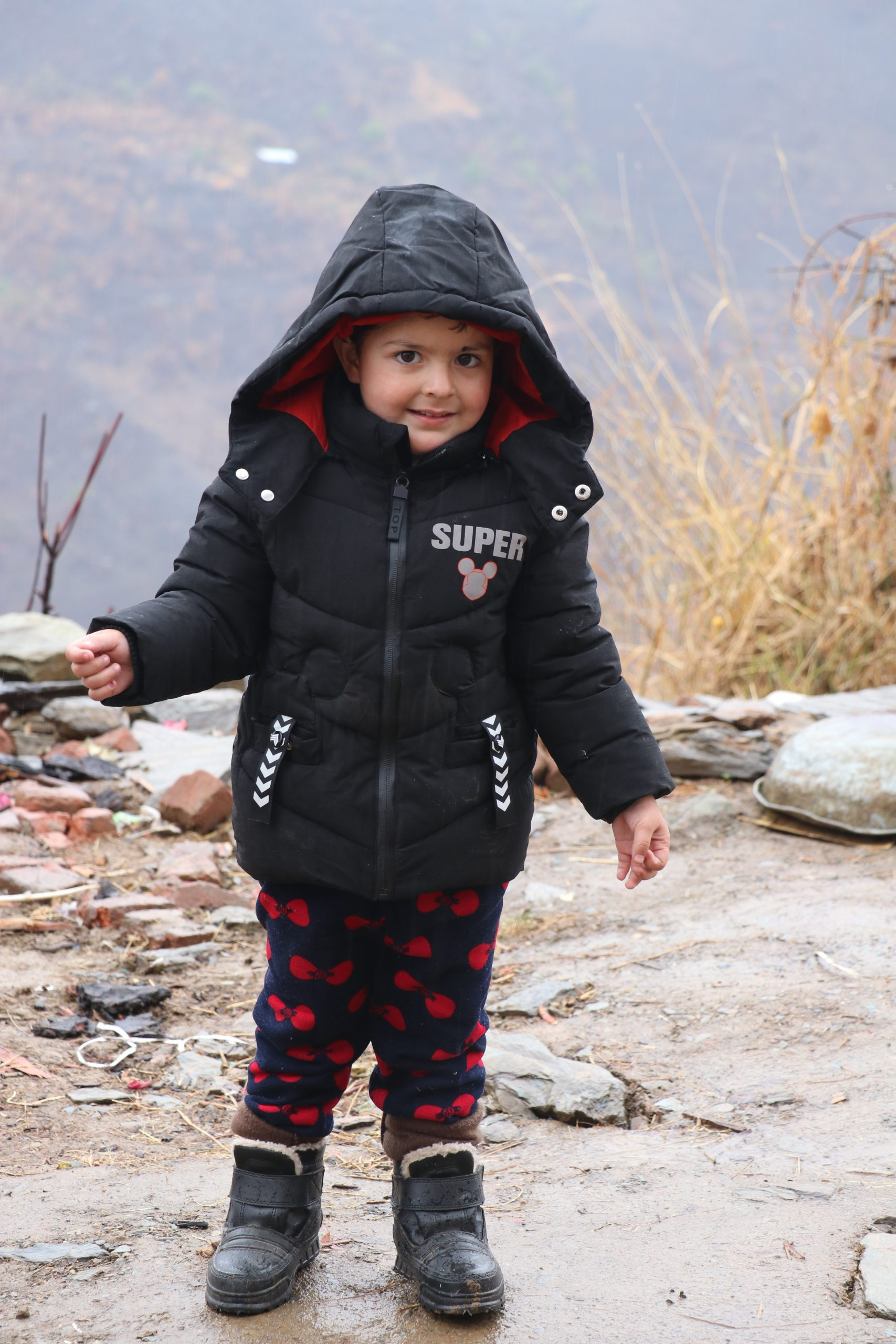 Cute little girl in hills