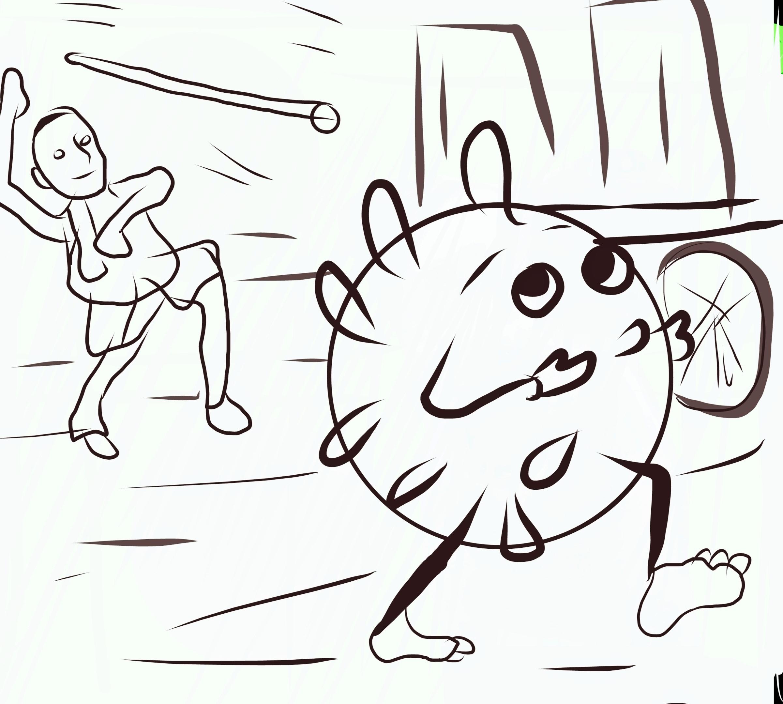 Defeating corona virus illustration