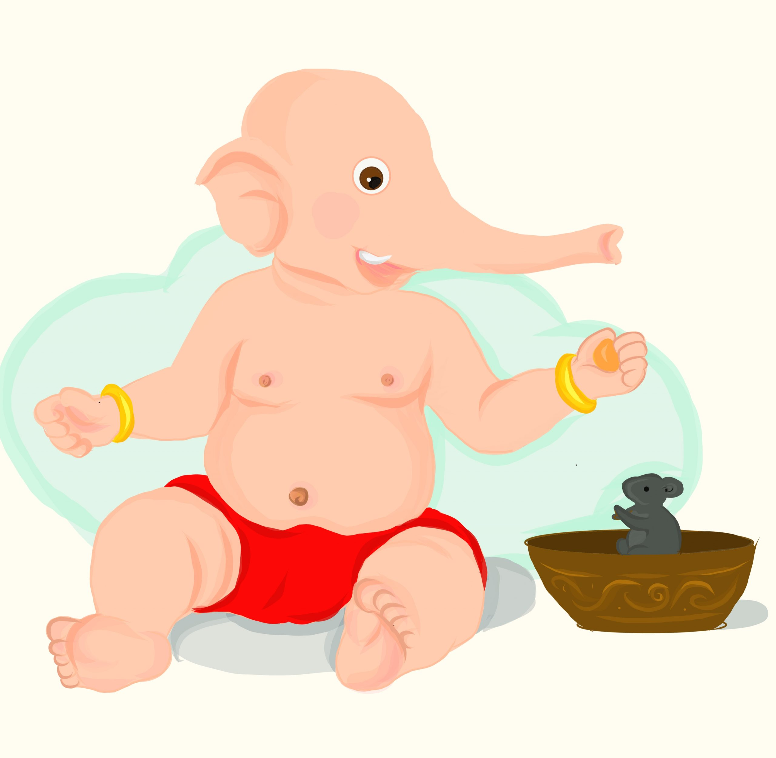 A painting of little lord Ganesha