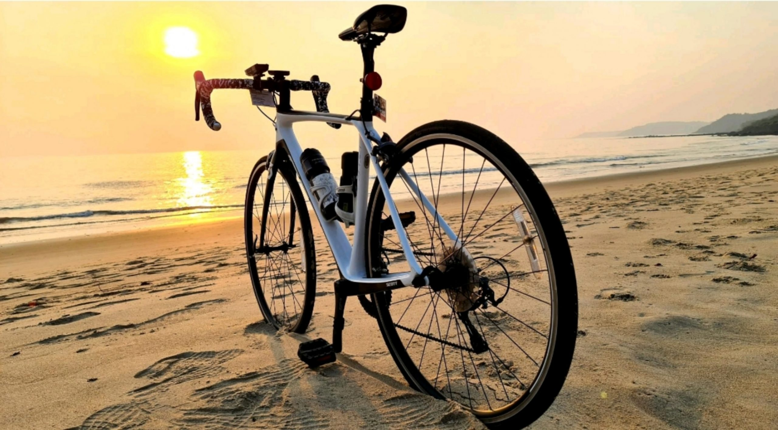 A bicycle on a beach
