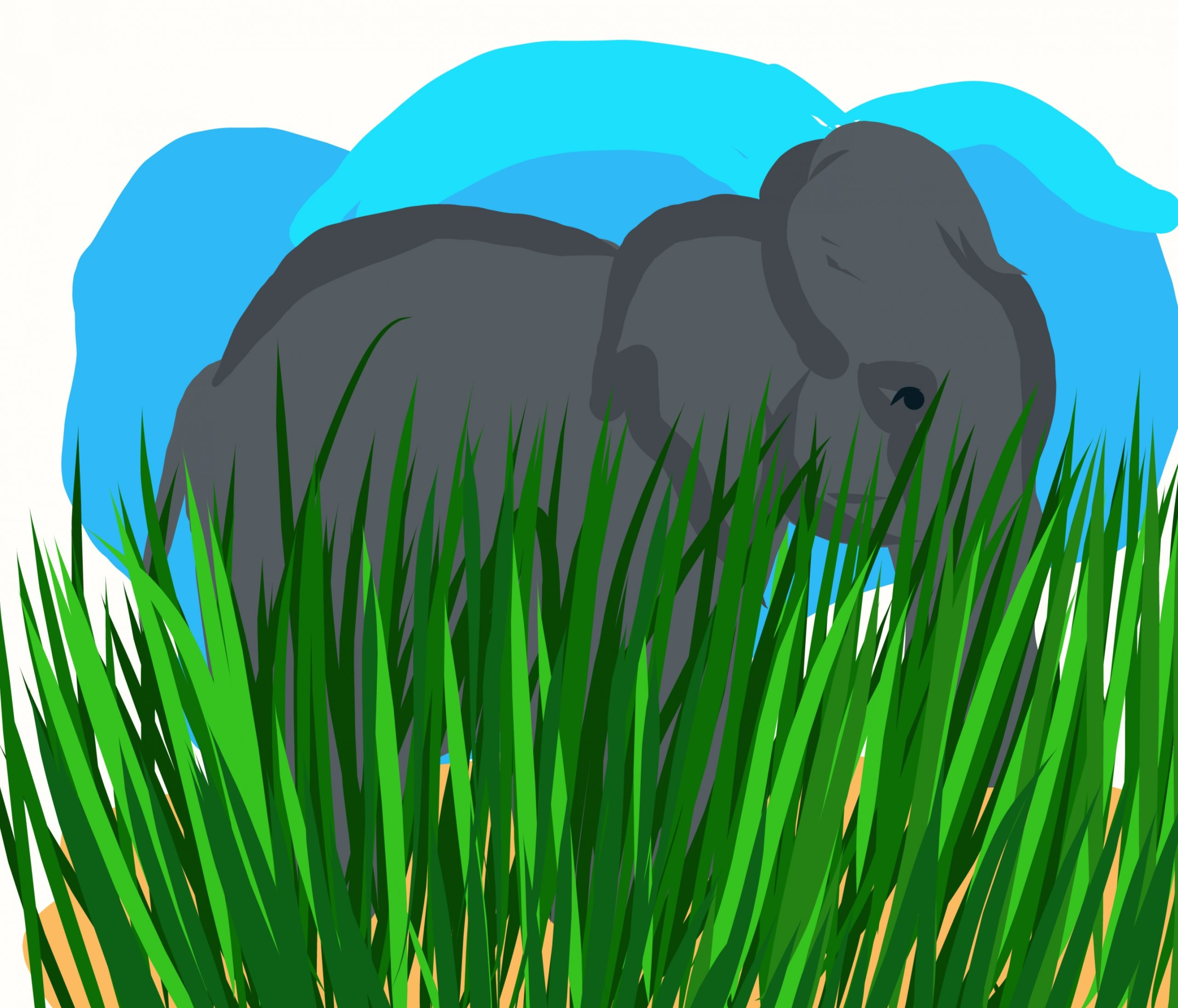 Elephant and grass illustration