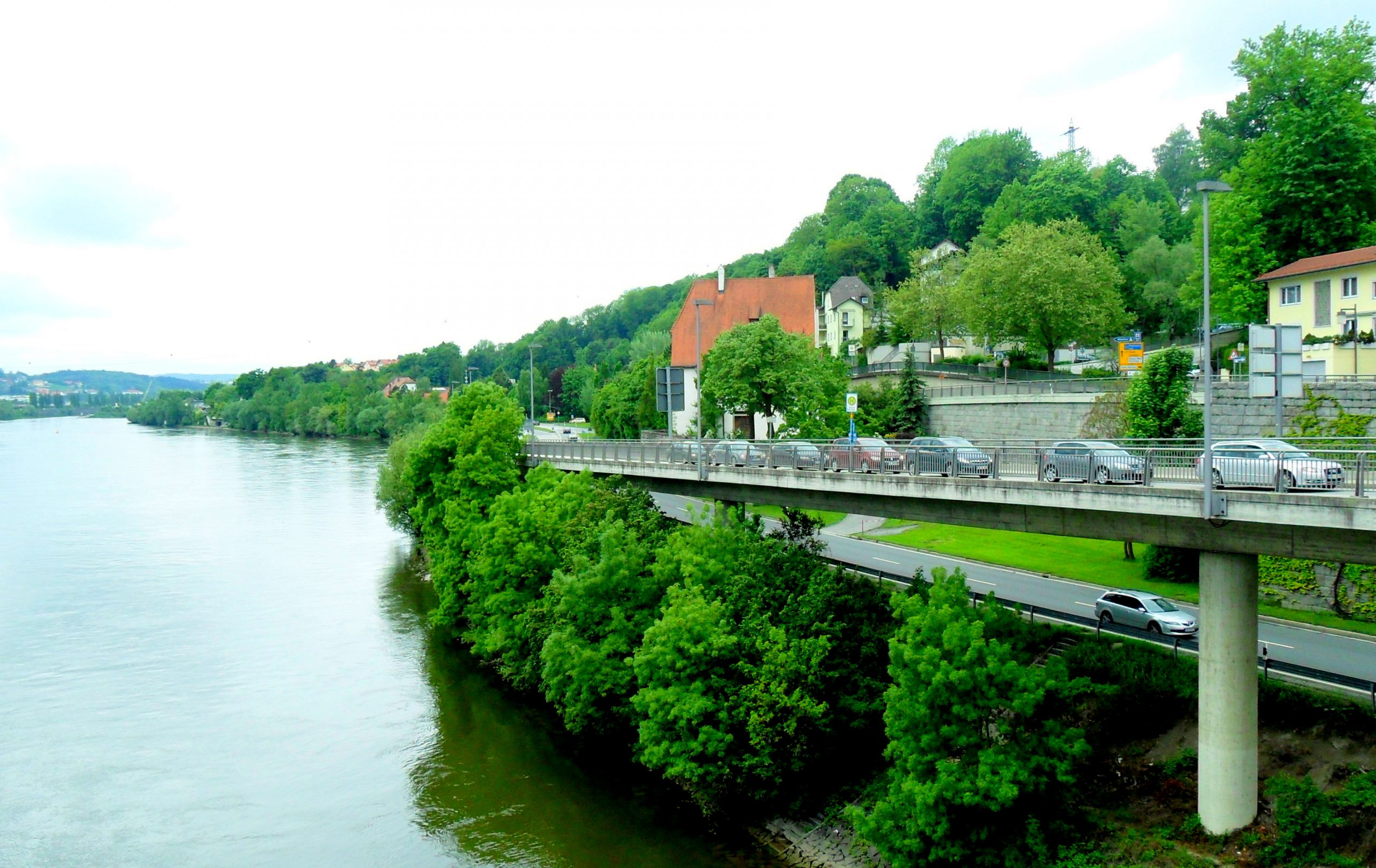 A bridge along a river
