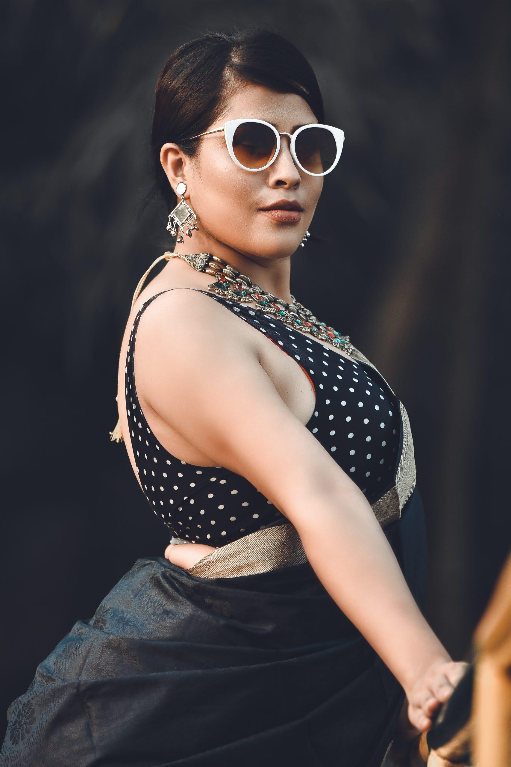 Female model posing in Saree