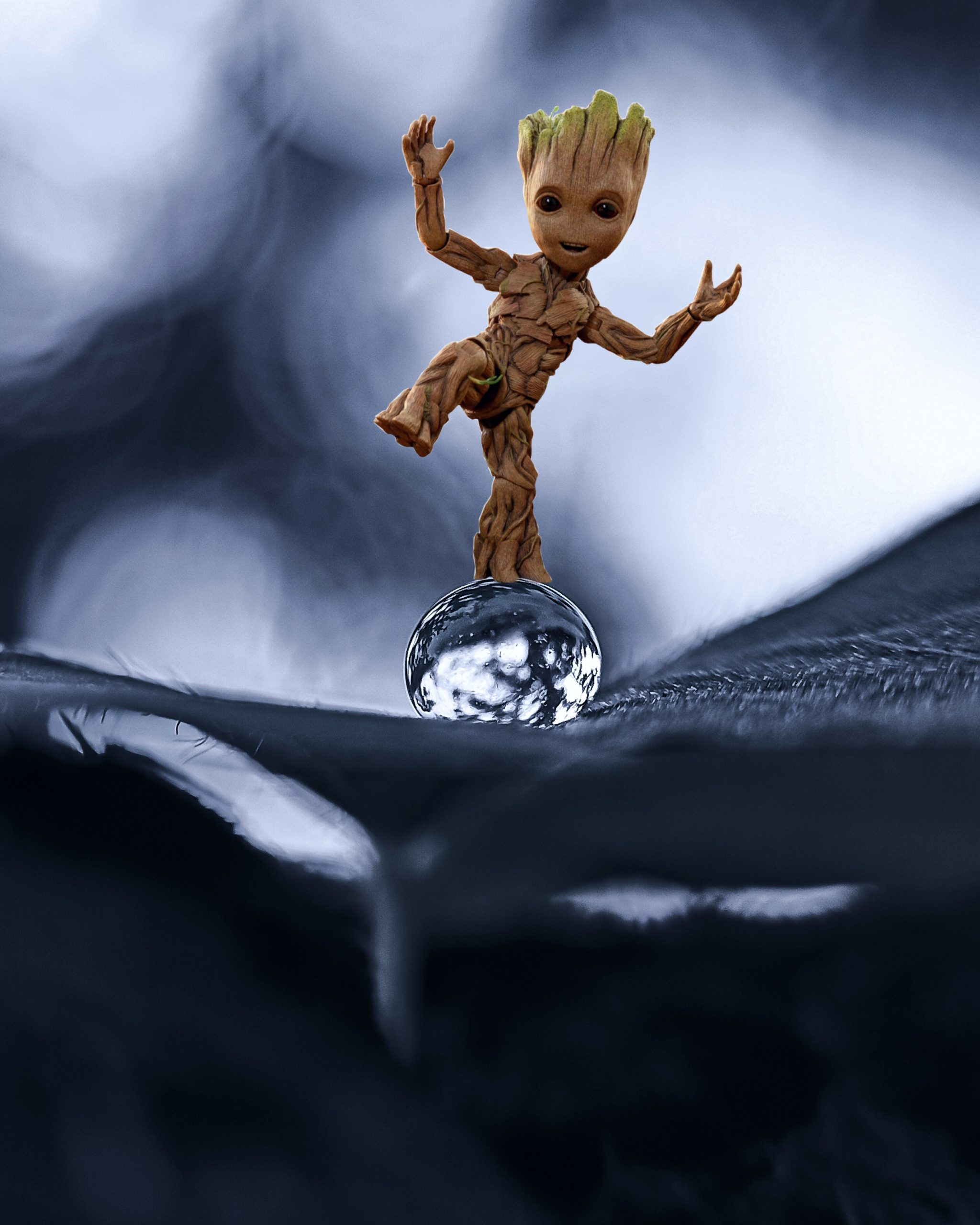 Fictional character Groot on a drop