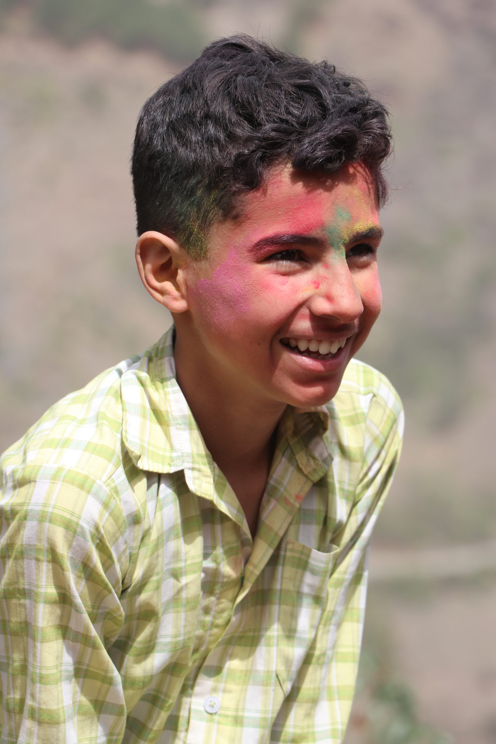 Holi colors on Boy's face