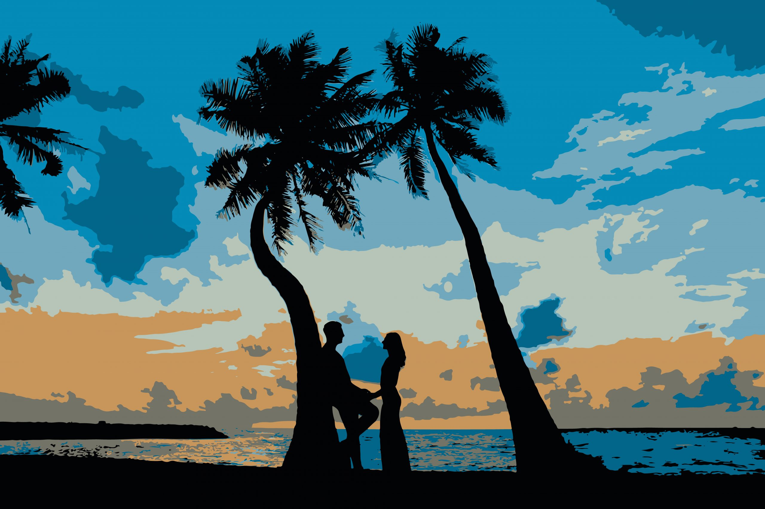 Illustration of a couple under palm trees