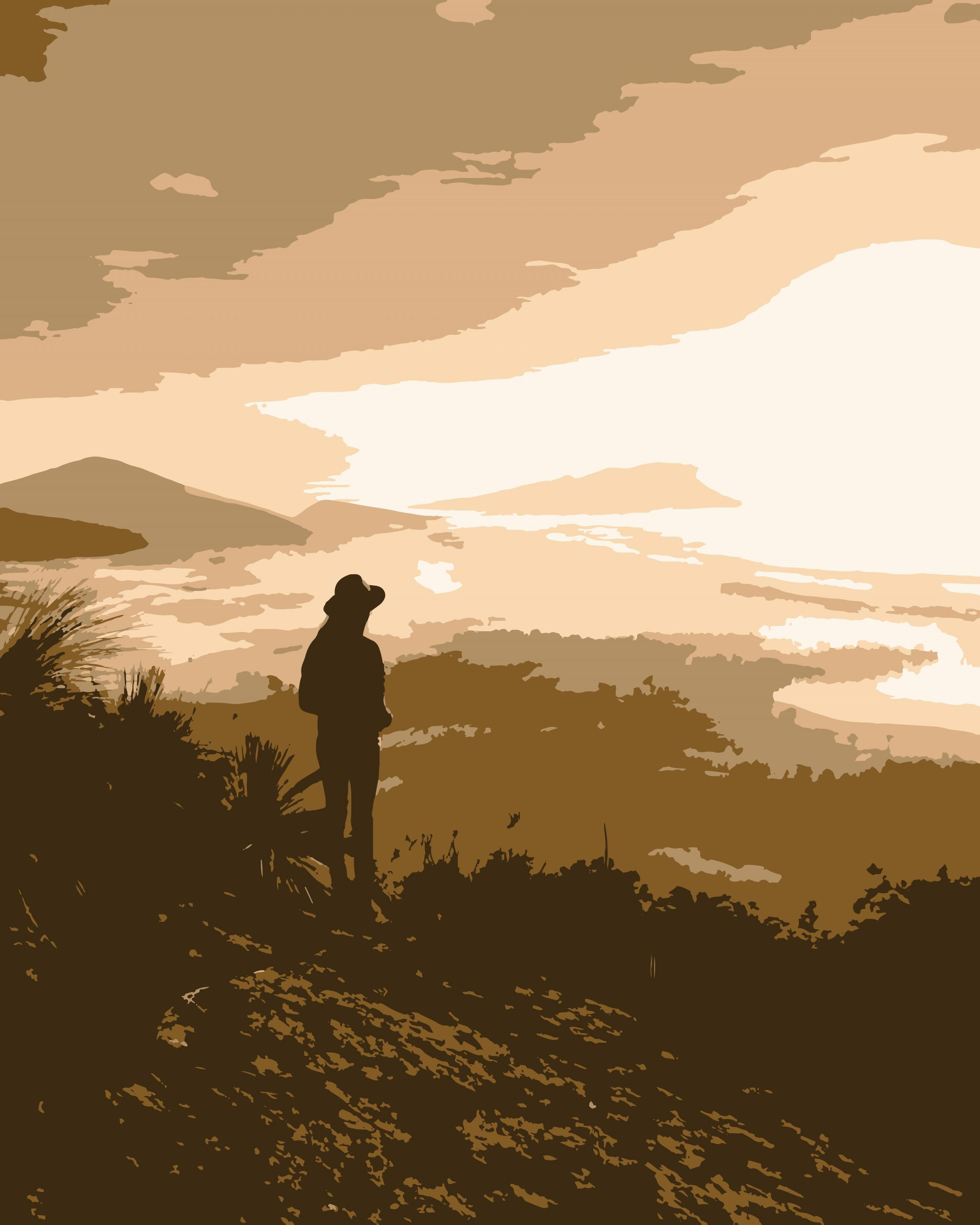 A man on a hill top