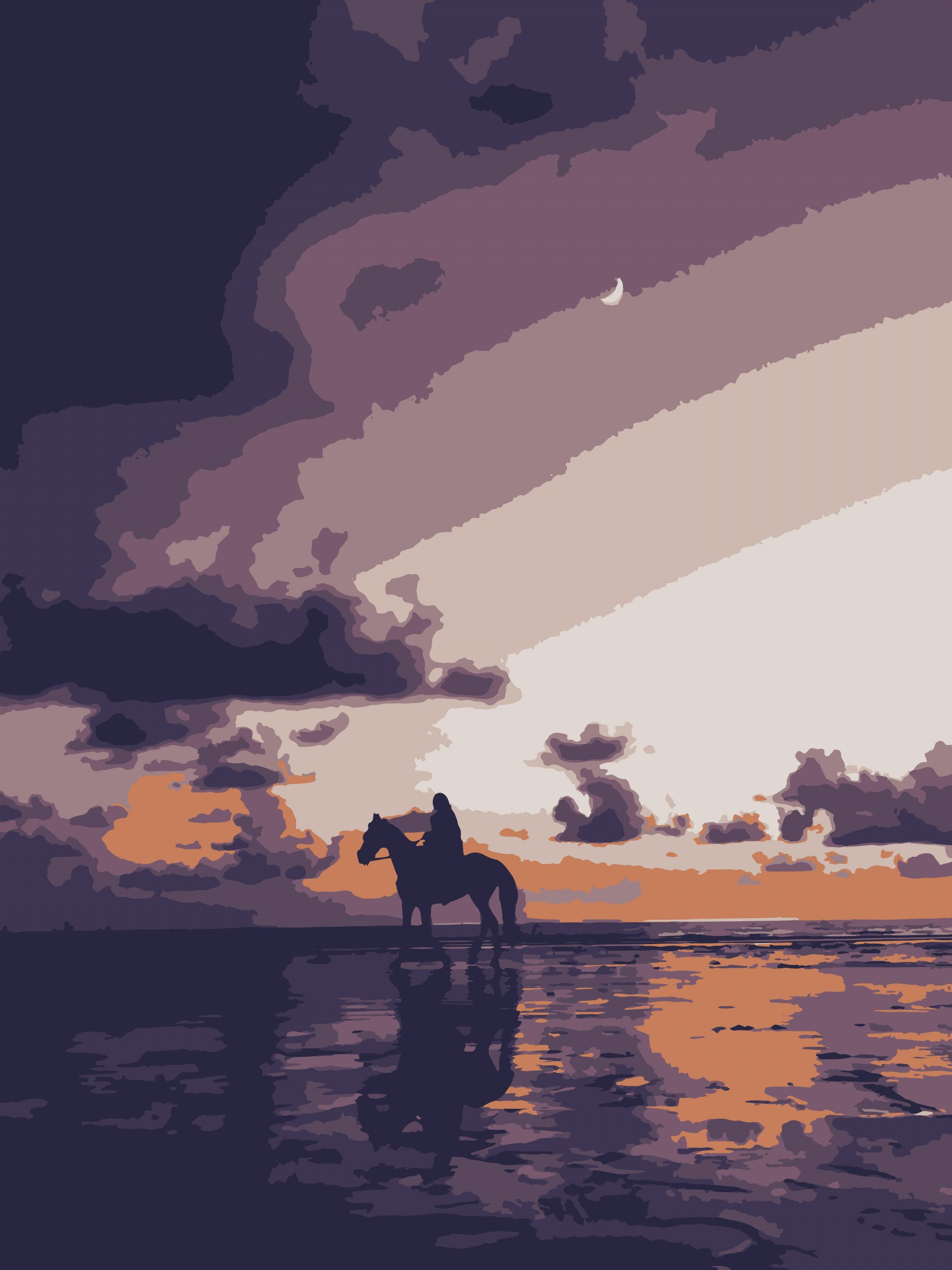 Illustration of a horse rider on a riverbank
