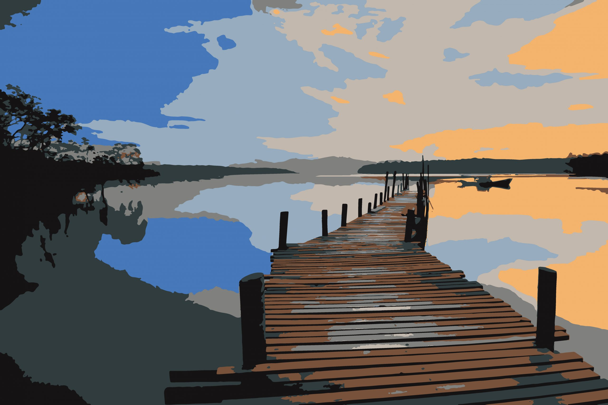 Wooden bridge on a lake