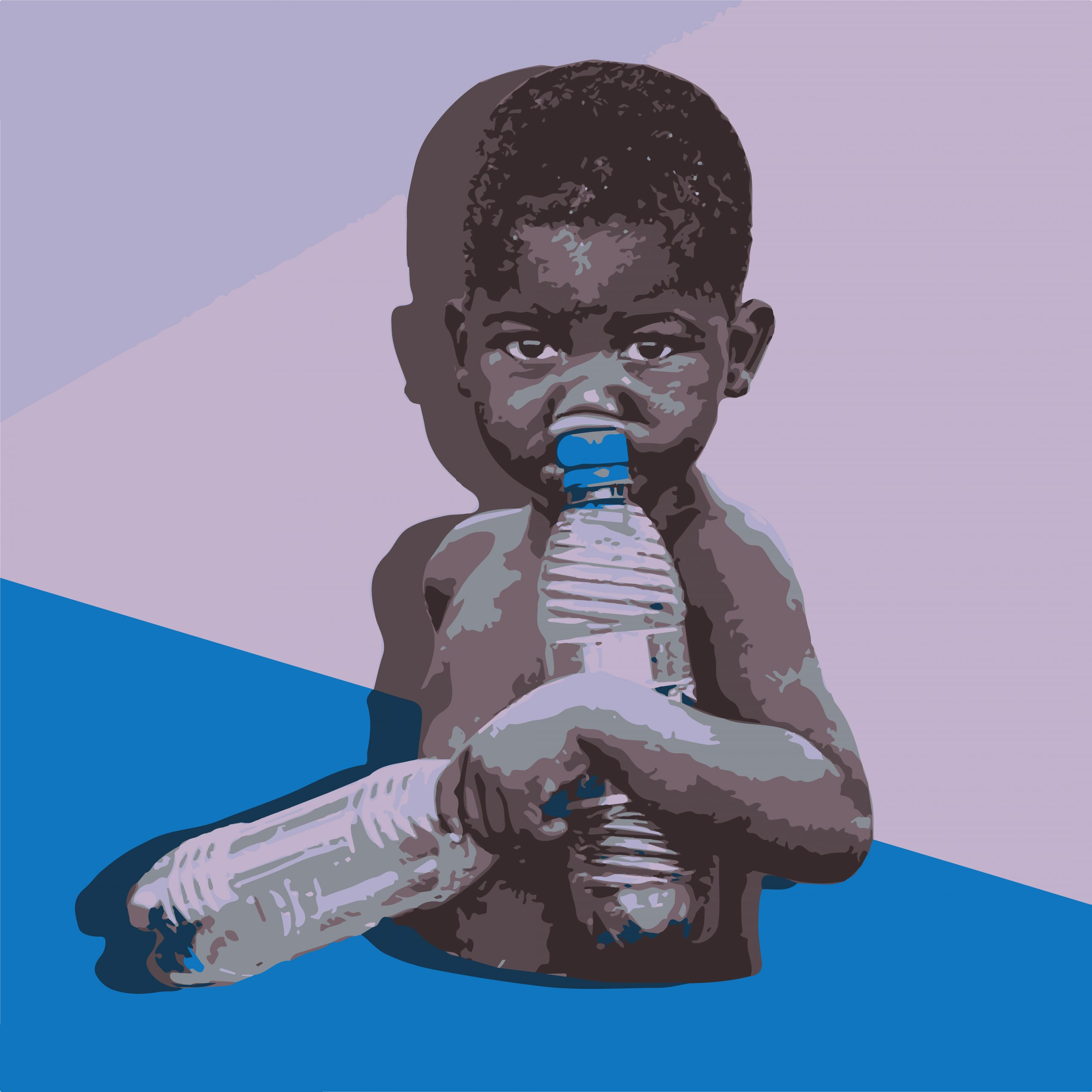 ILLUSTRATION of baby with water bottle