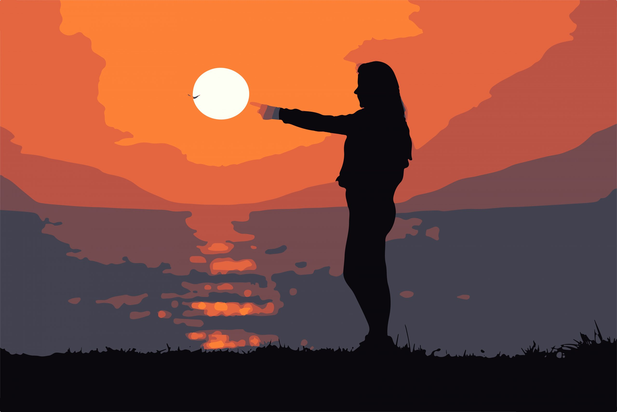ILLUSTRATION of woman pointing at Sun