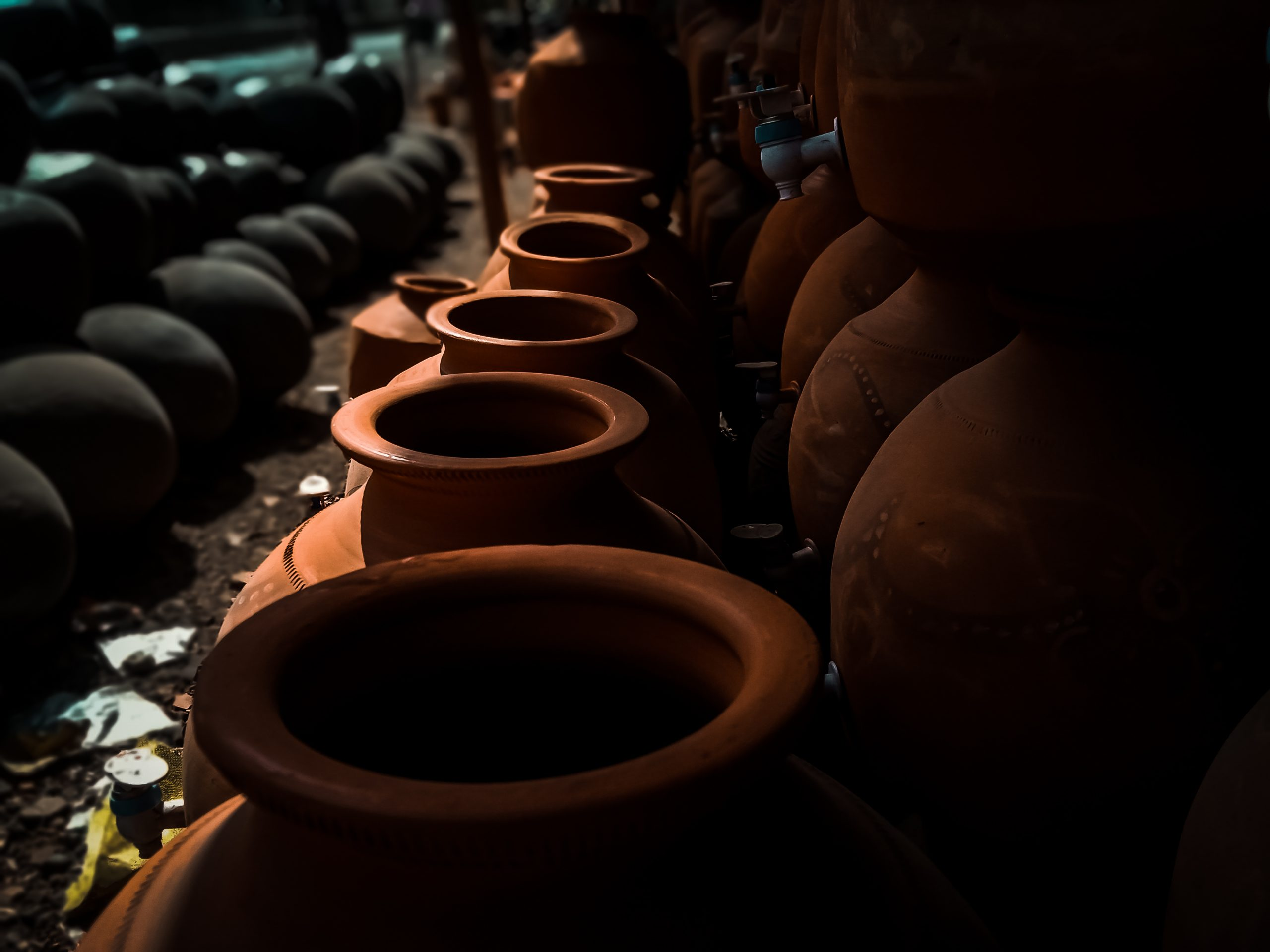 Clay pots in a store