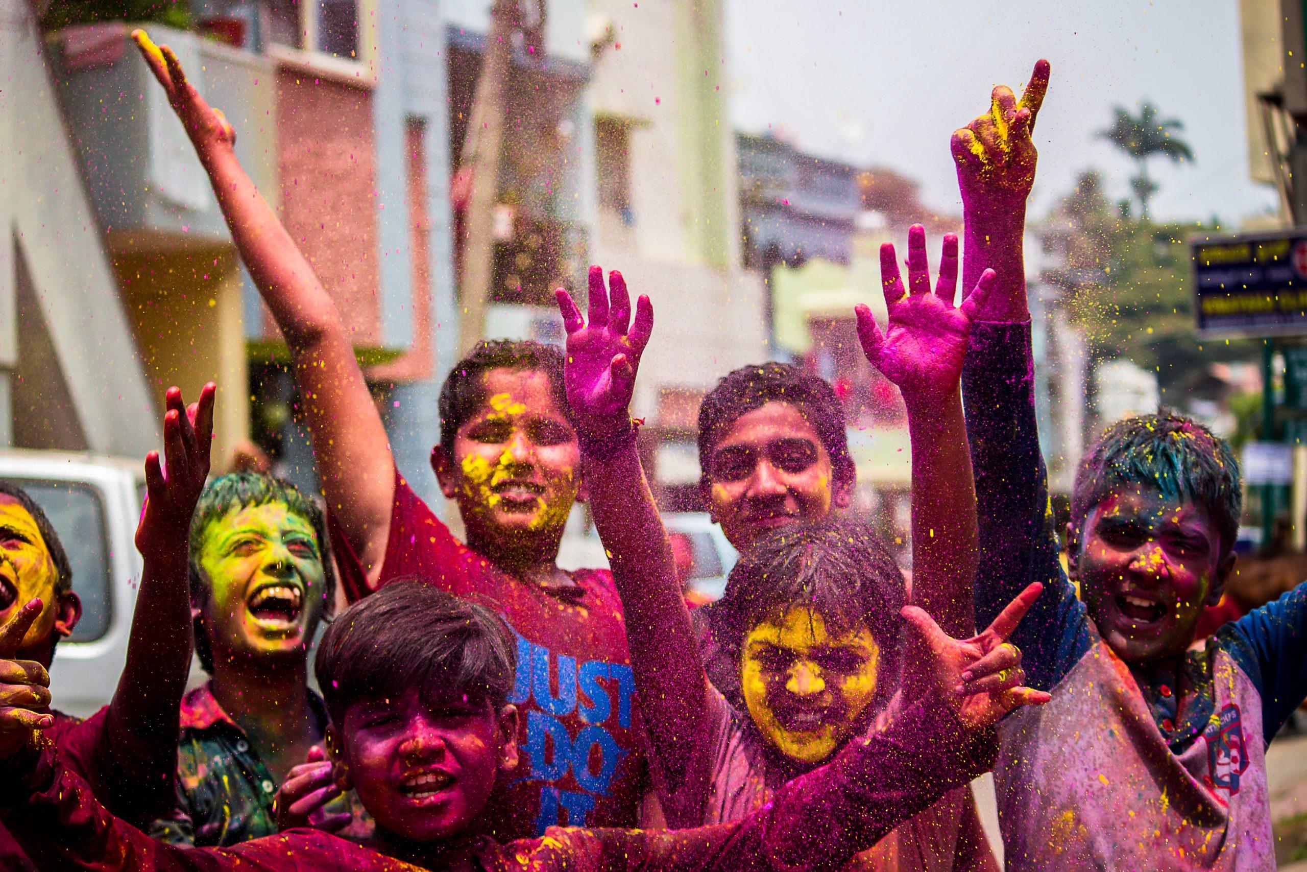 Kids Celebrating Holi festival