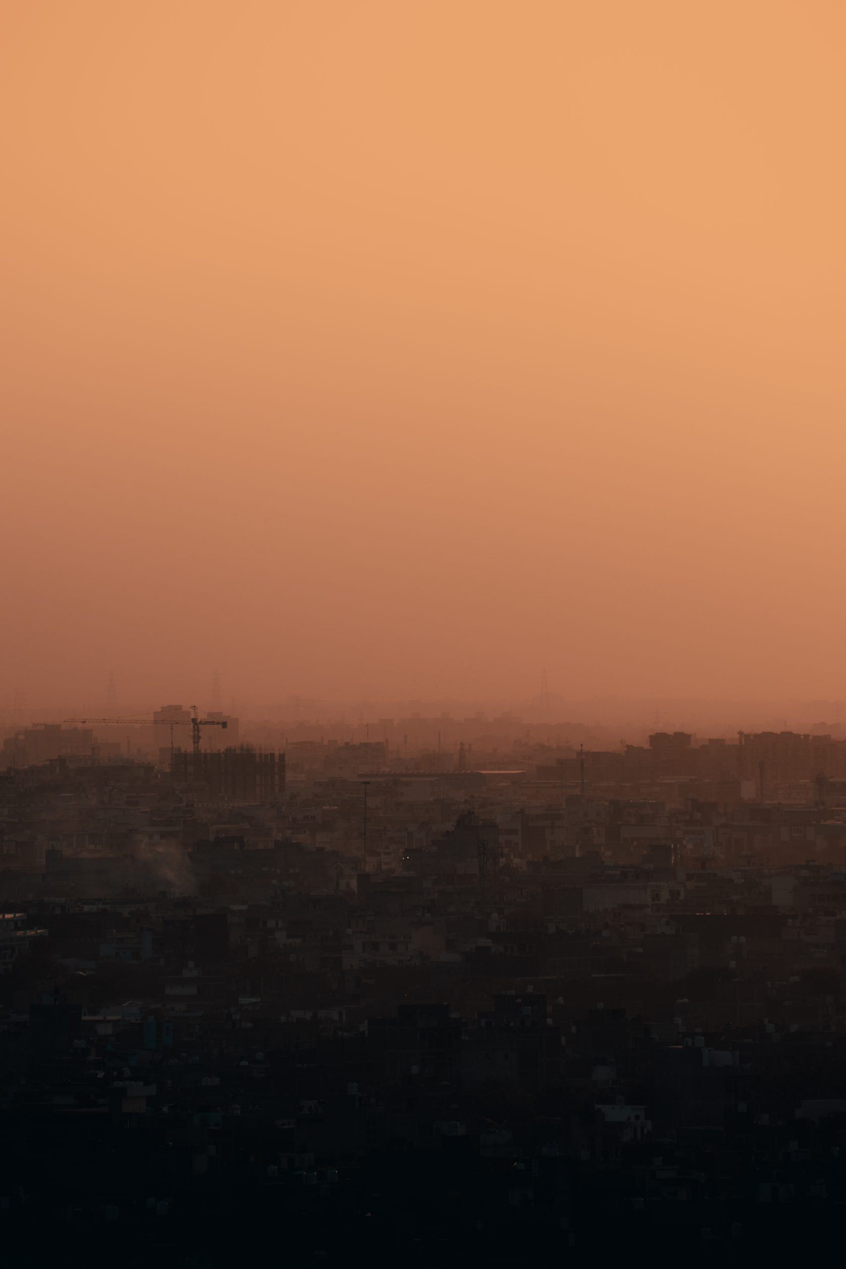 Polluted air of a city during evening