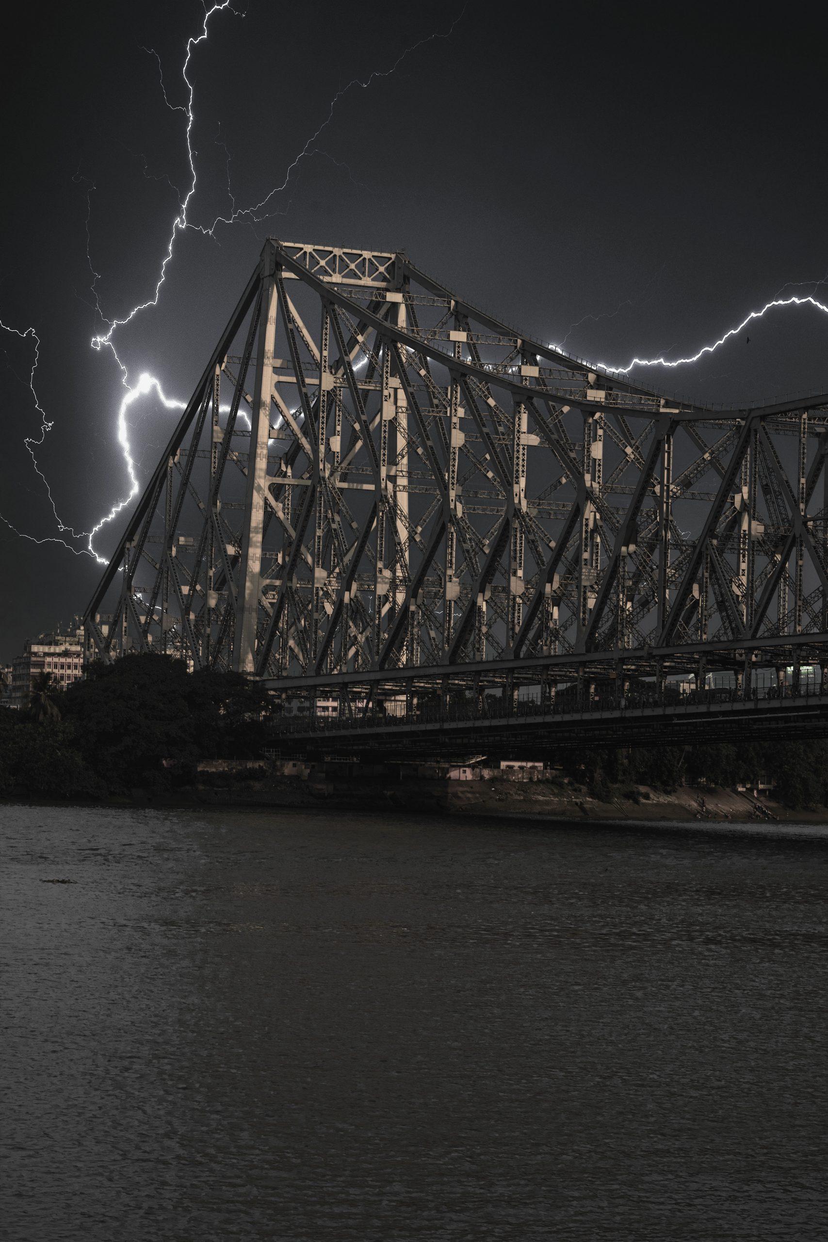 Lightening around Howrah bridge