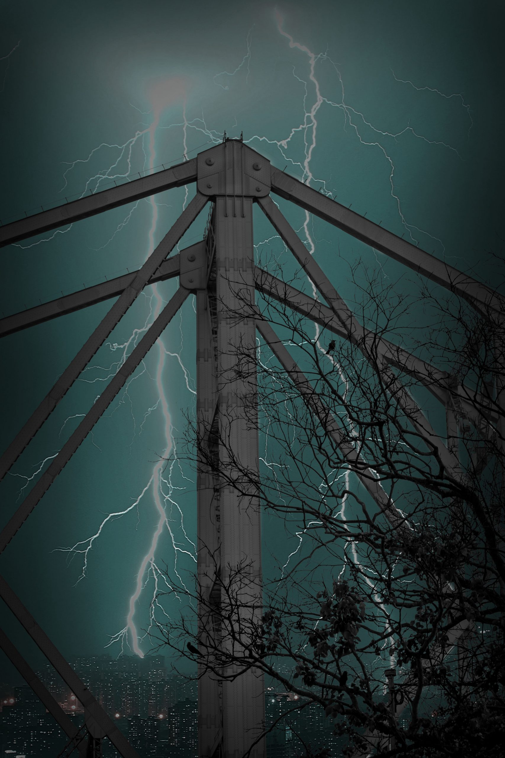 Lightening behind a pole