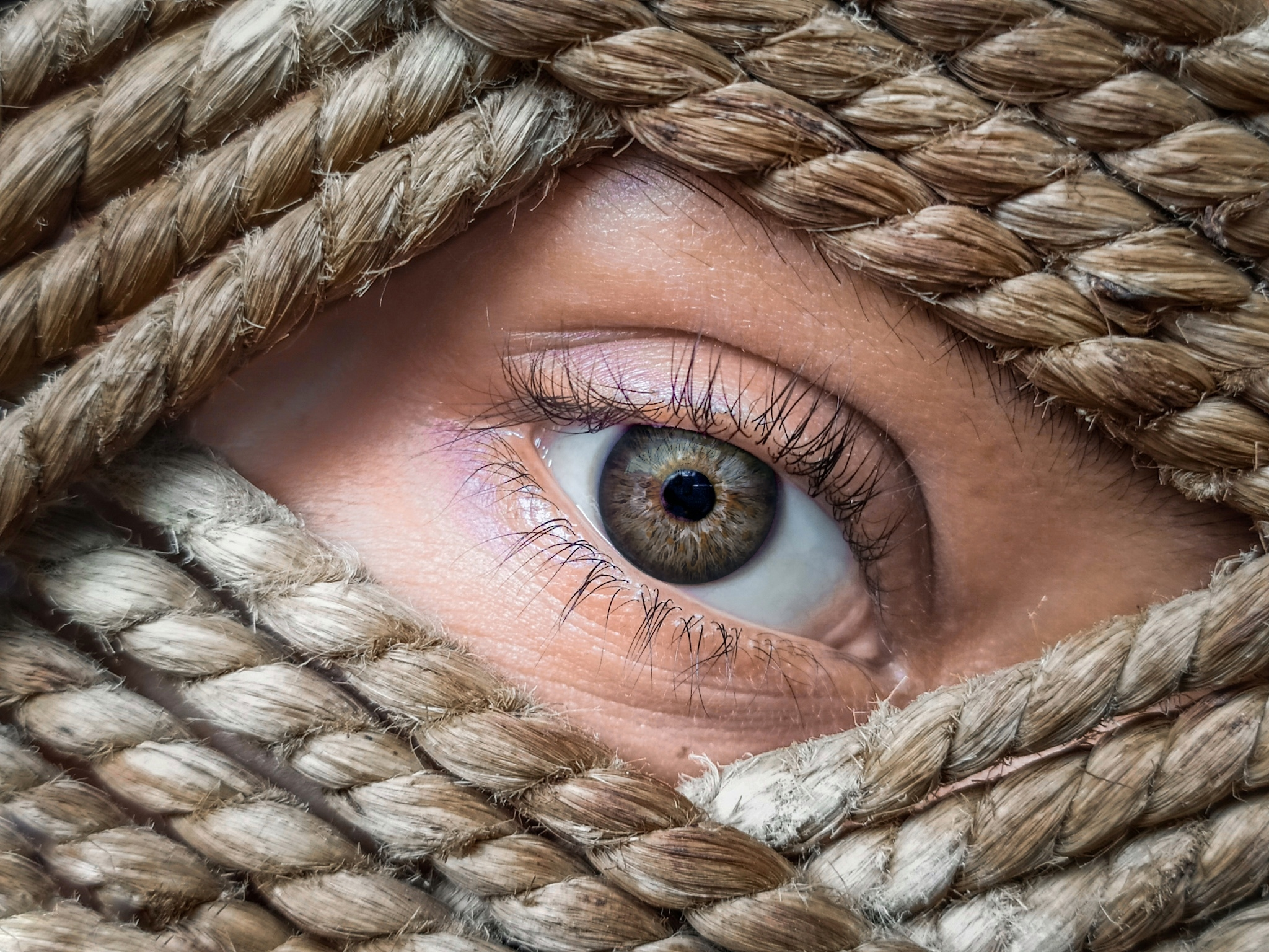 Looking through woven jute