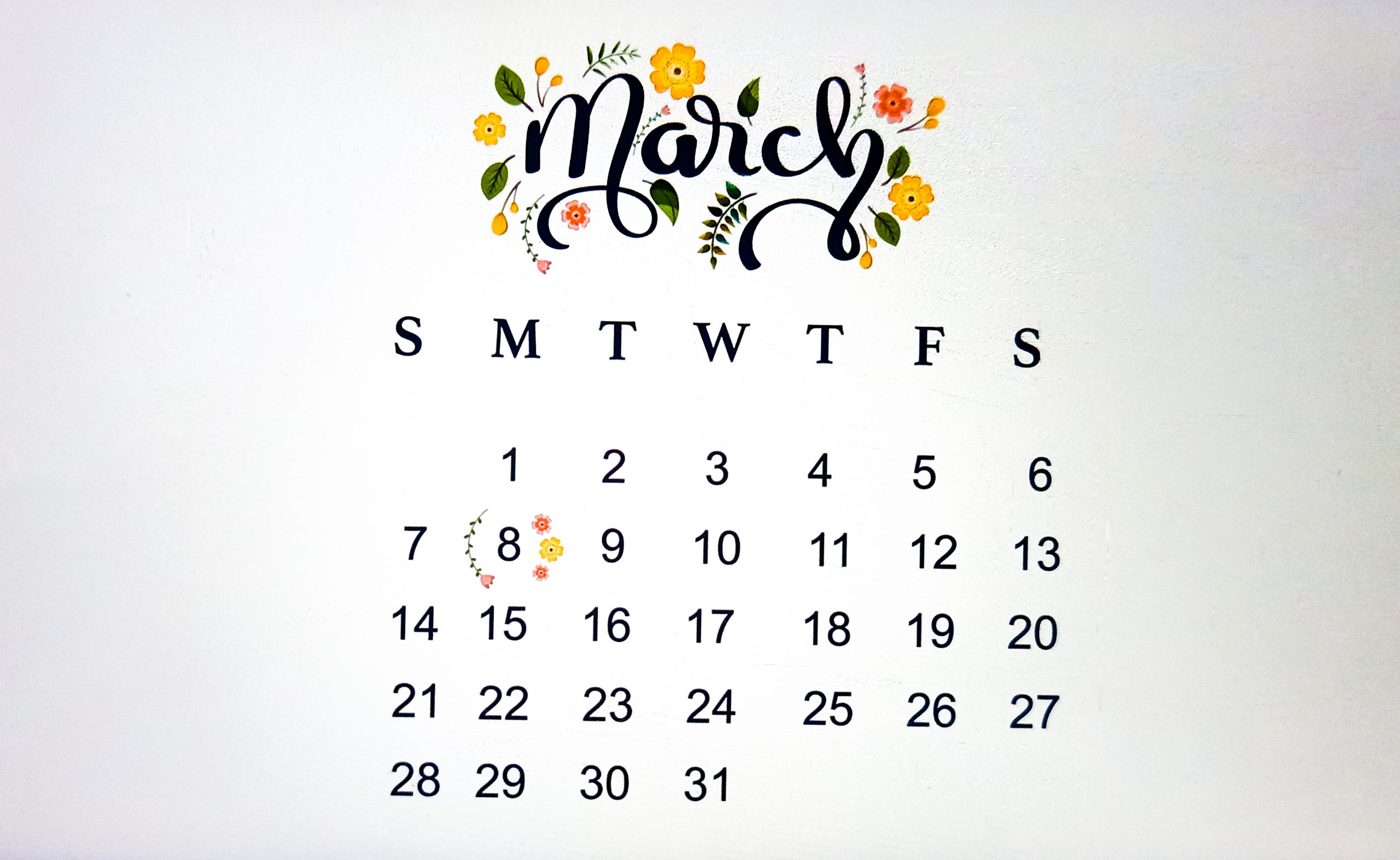 March Calendar Illustration