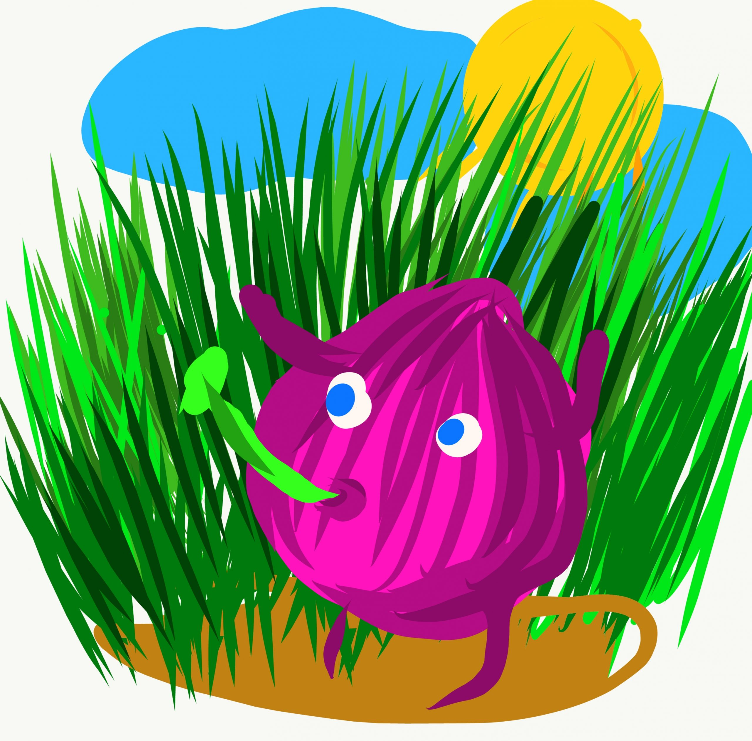 Onion and grass illustration