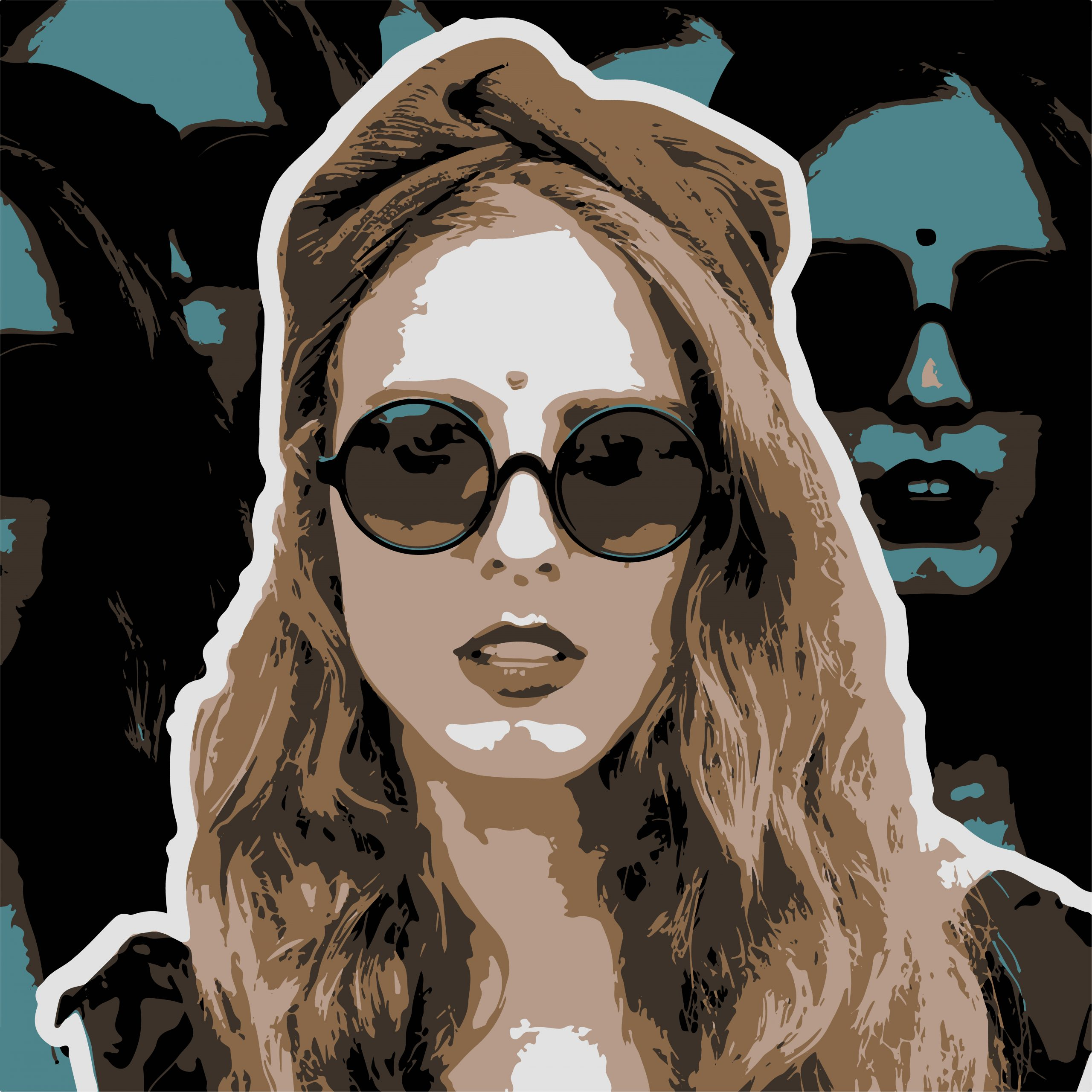 PORTRAIT ILLUSTRATION of girl with sunglasses