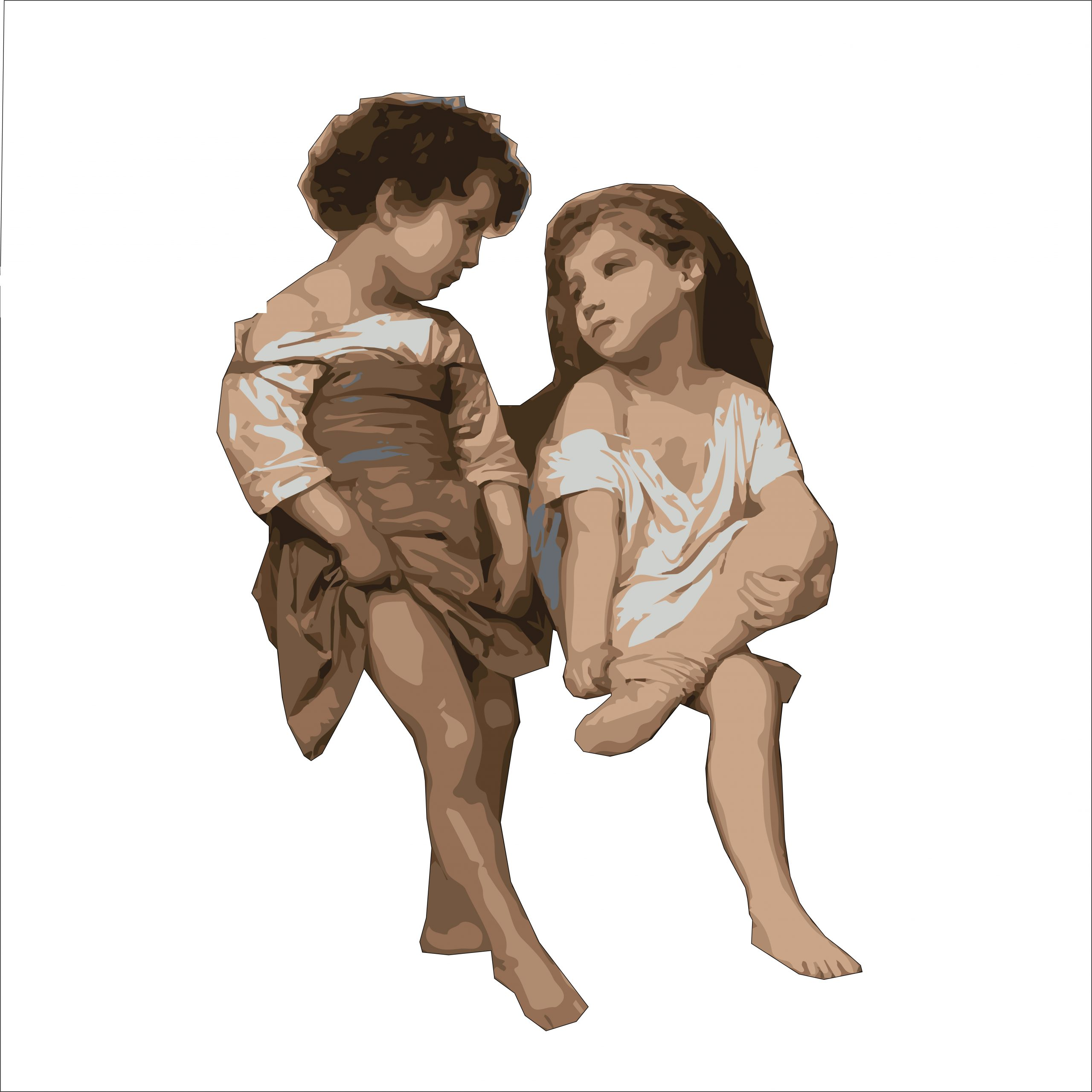 Painting of two kids