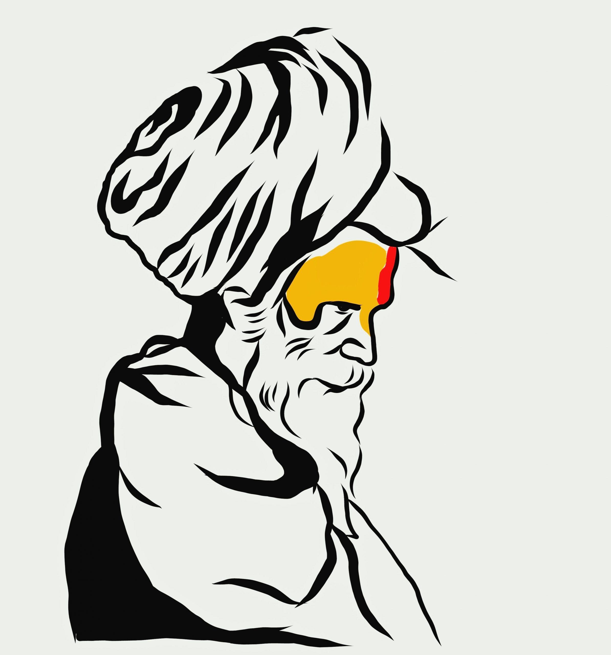Portrait illustration of an Indian monk