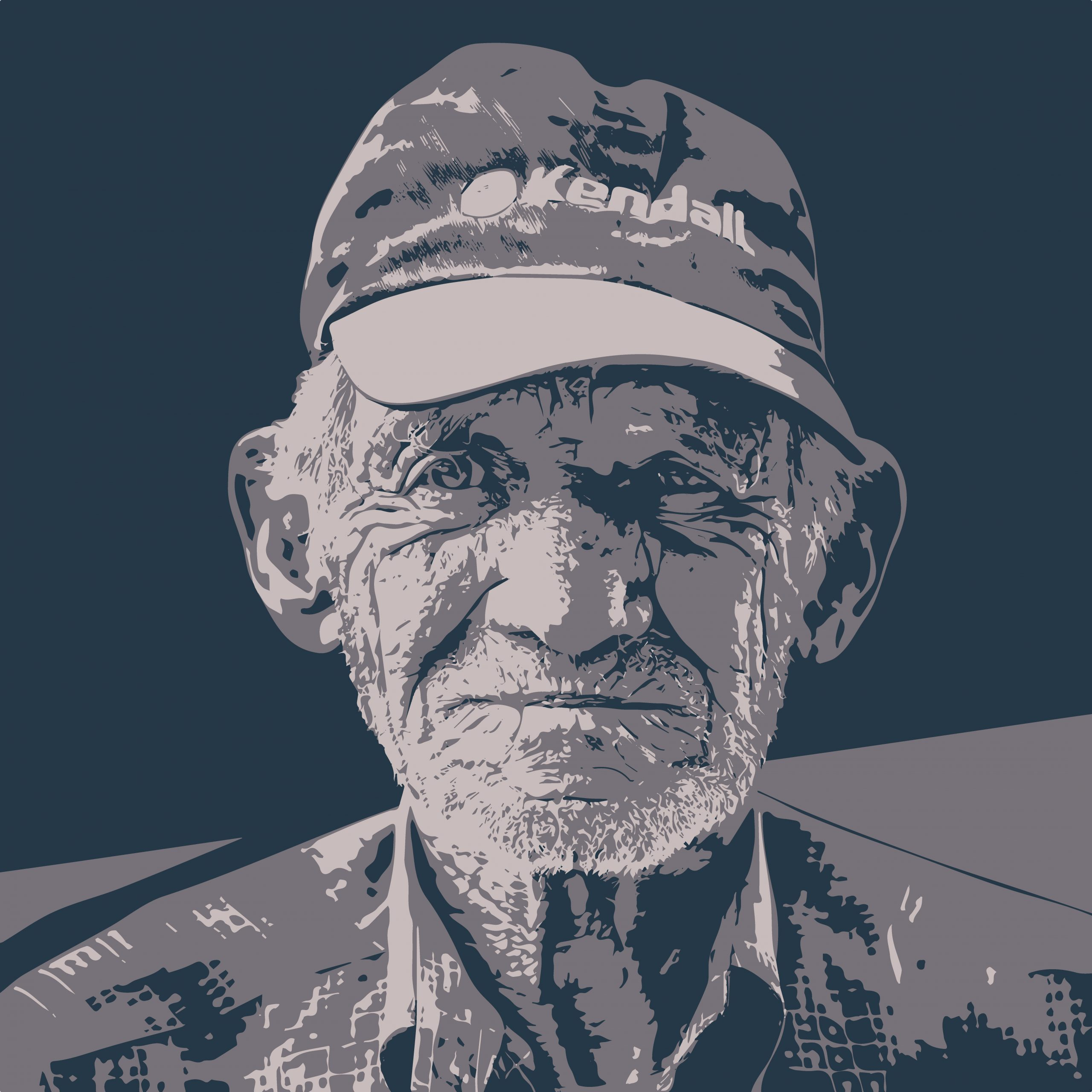 Portrait illustration of an old man