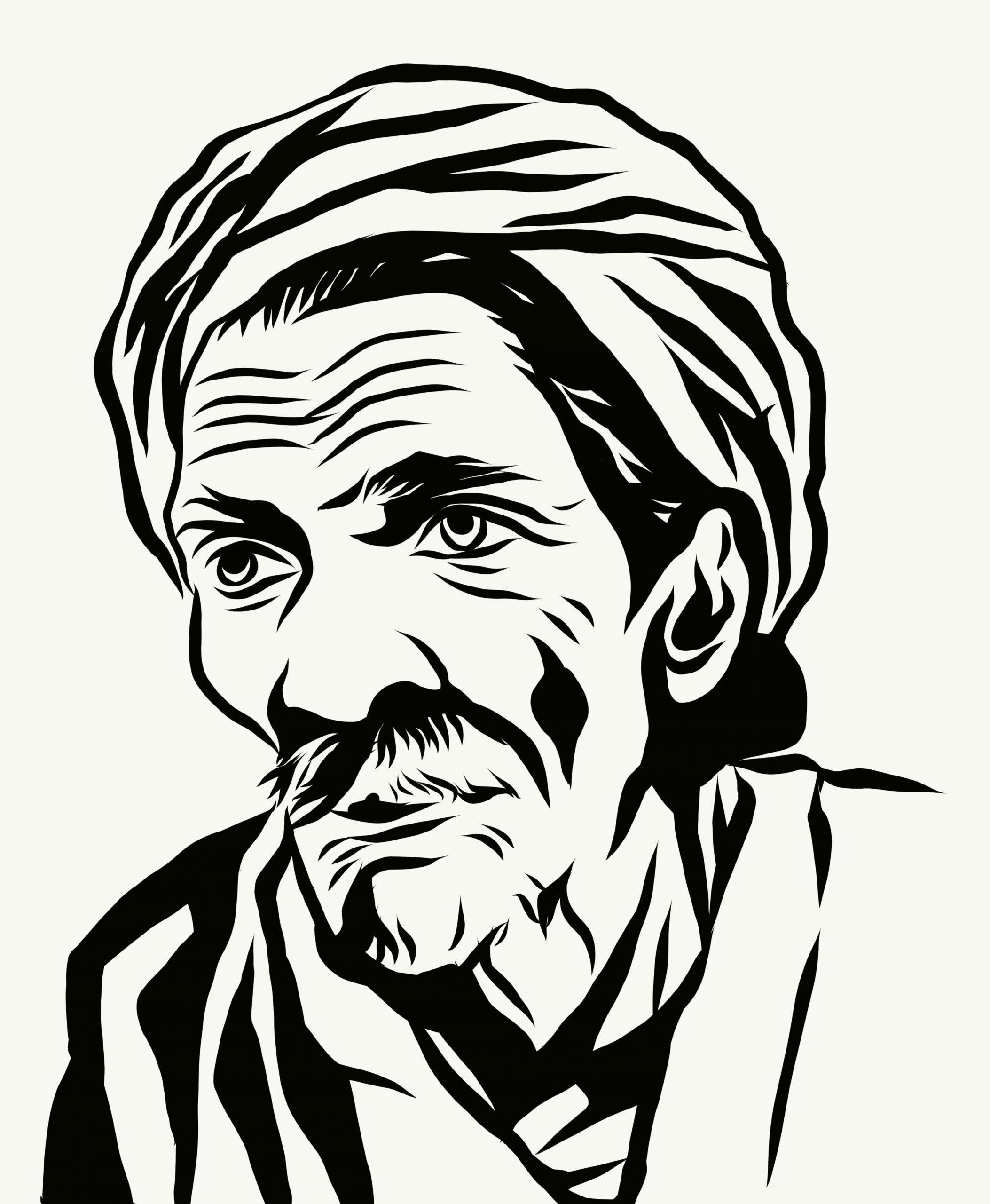 Portrait illustration of an old man