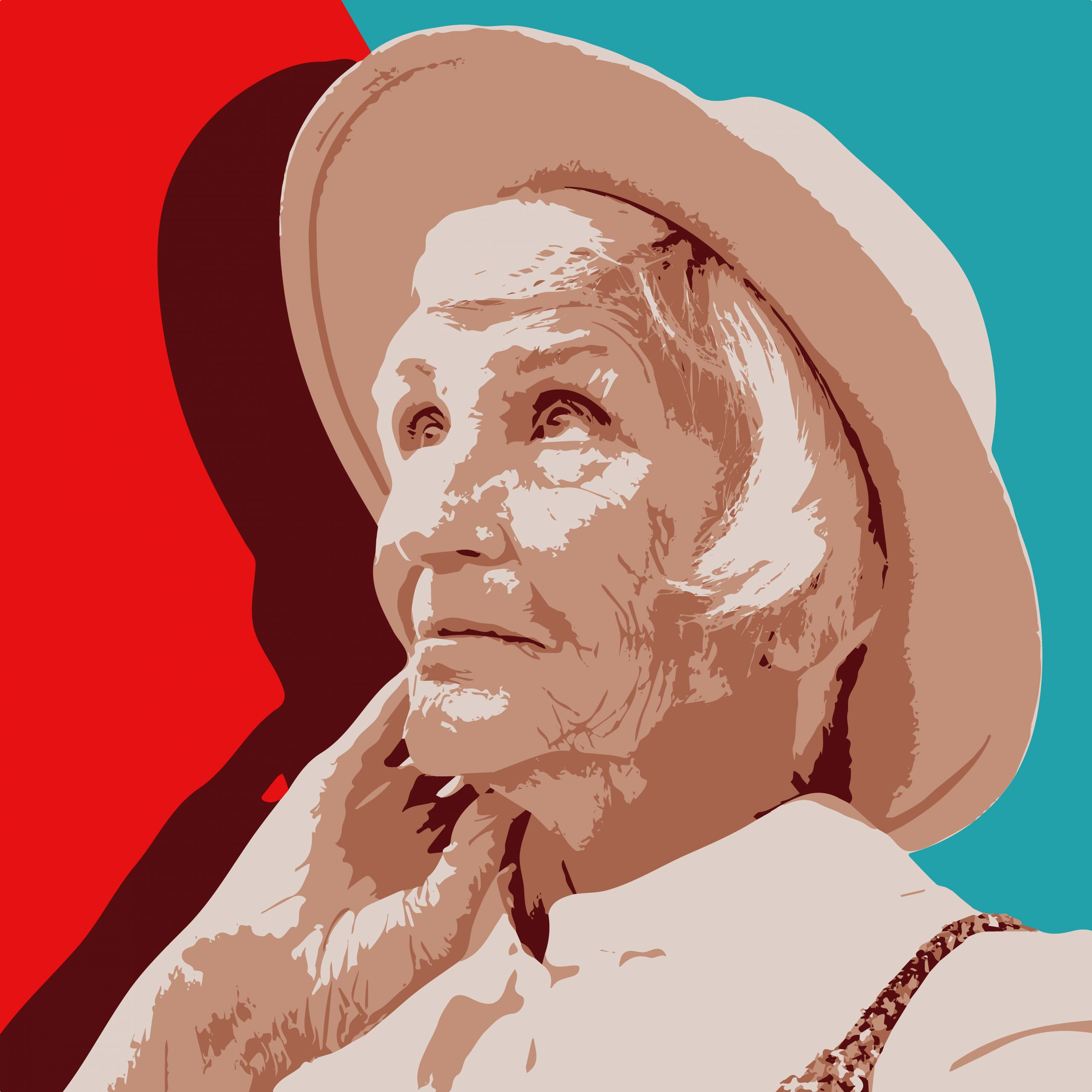 Portrait illustration of an old woman