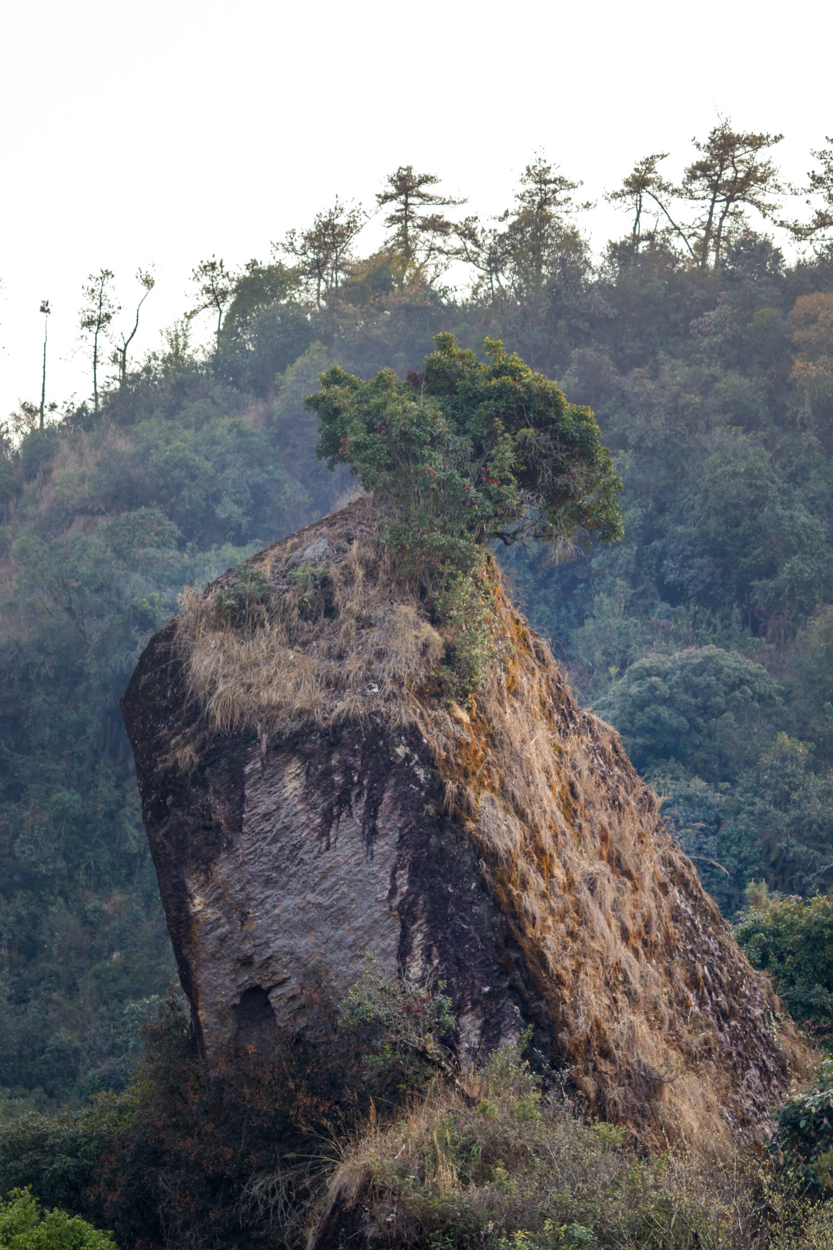 A big rock under a hill