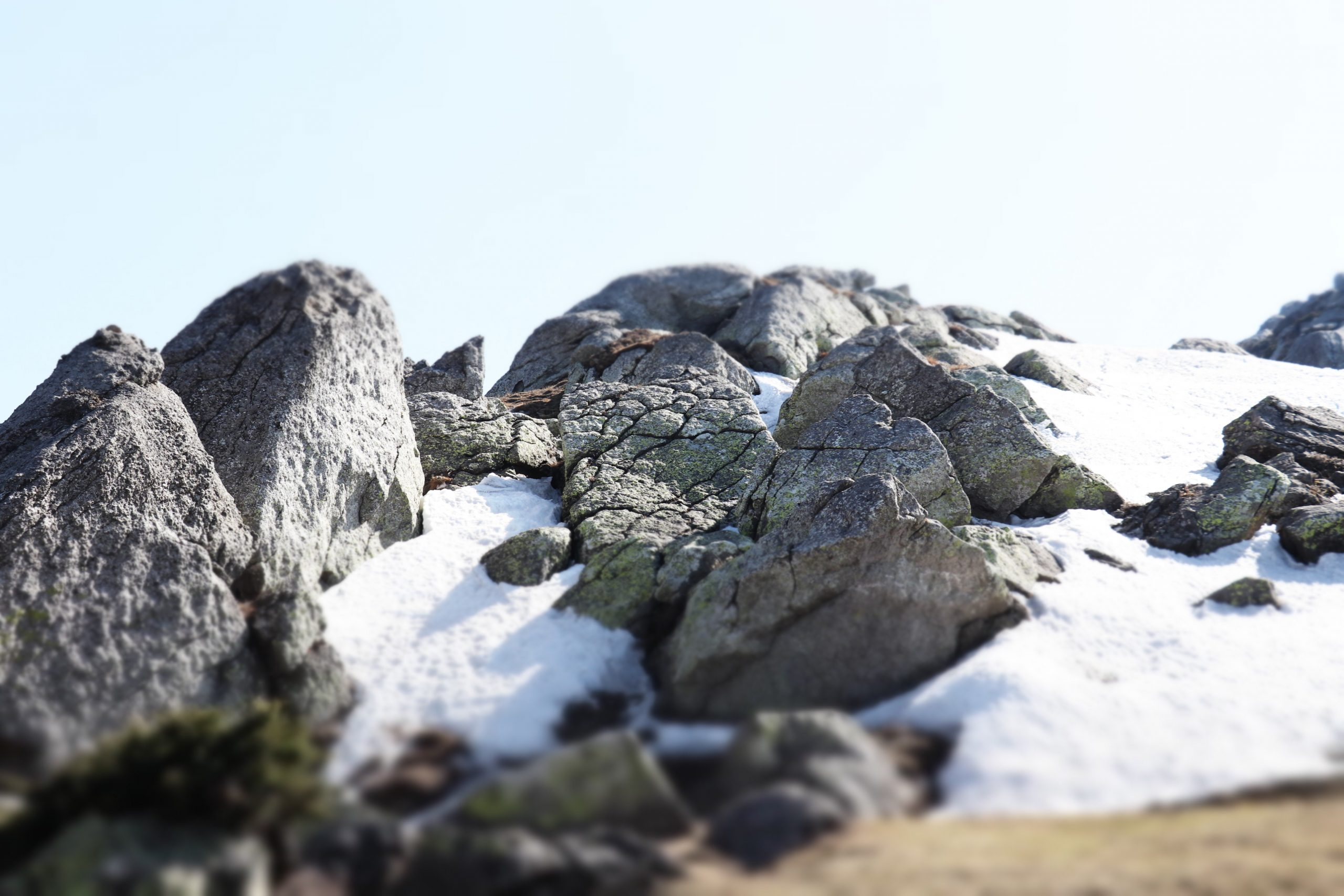 Snow trapped in rocky hills