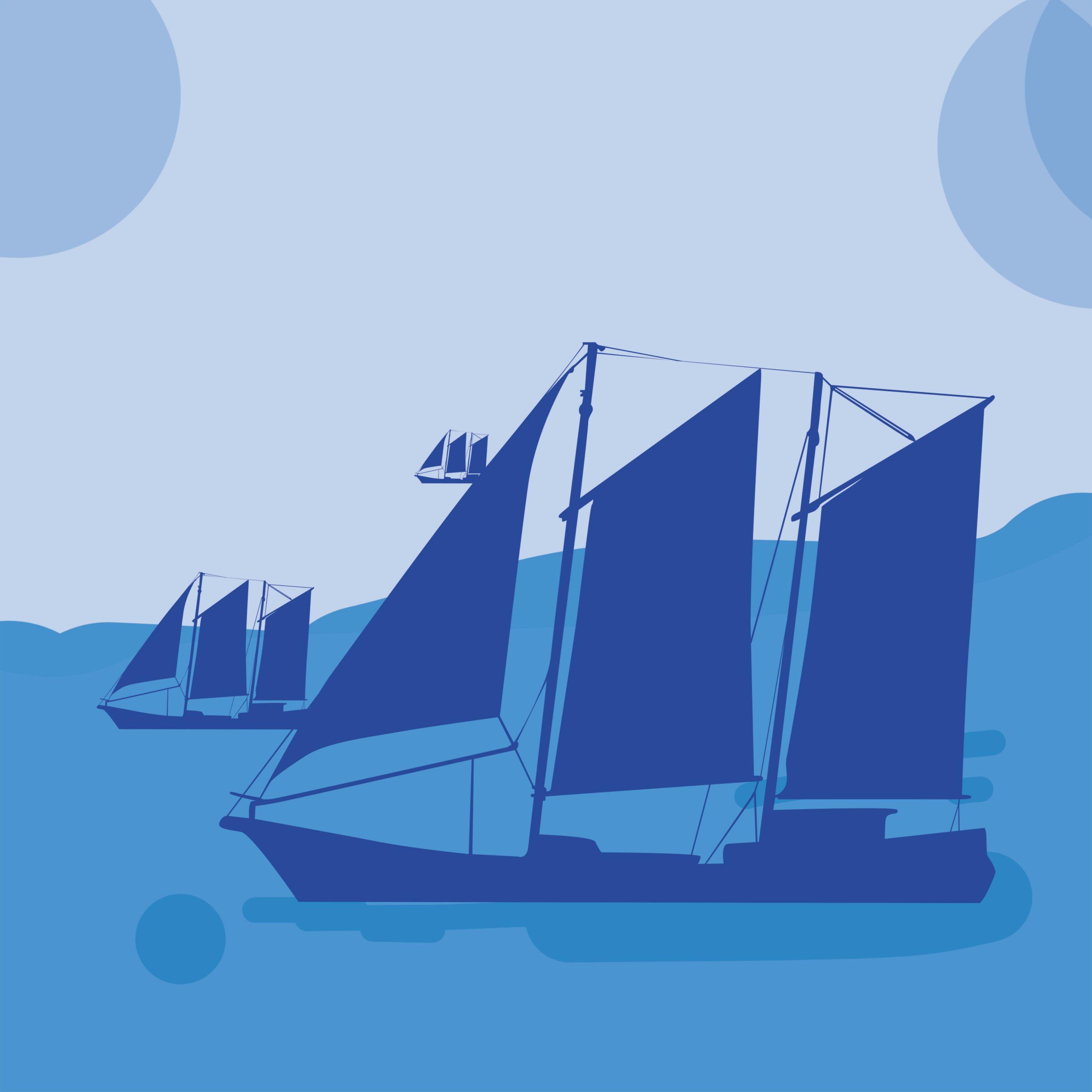 Ship and sea illustration