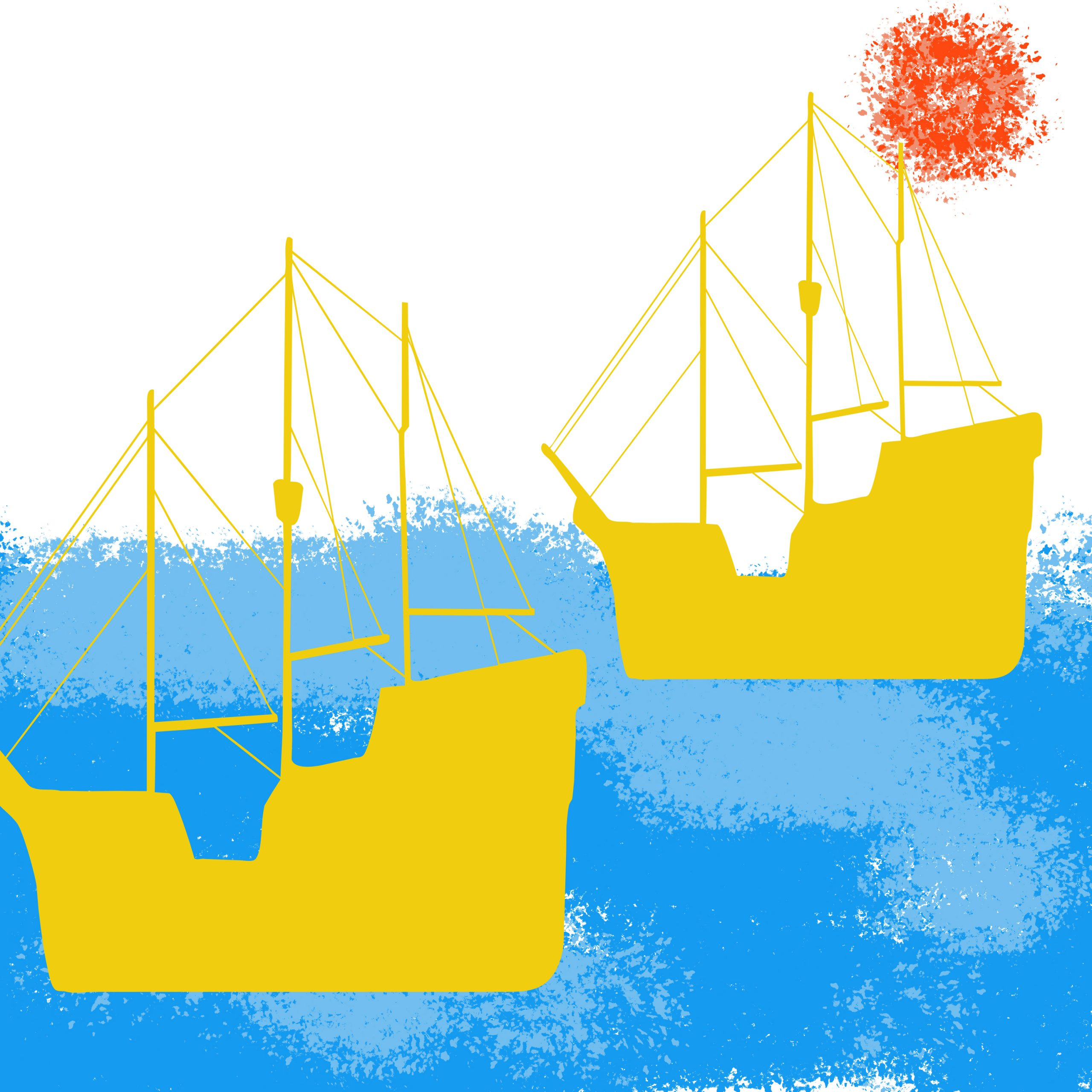 Ships and water illustration