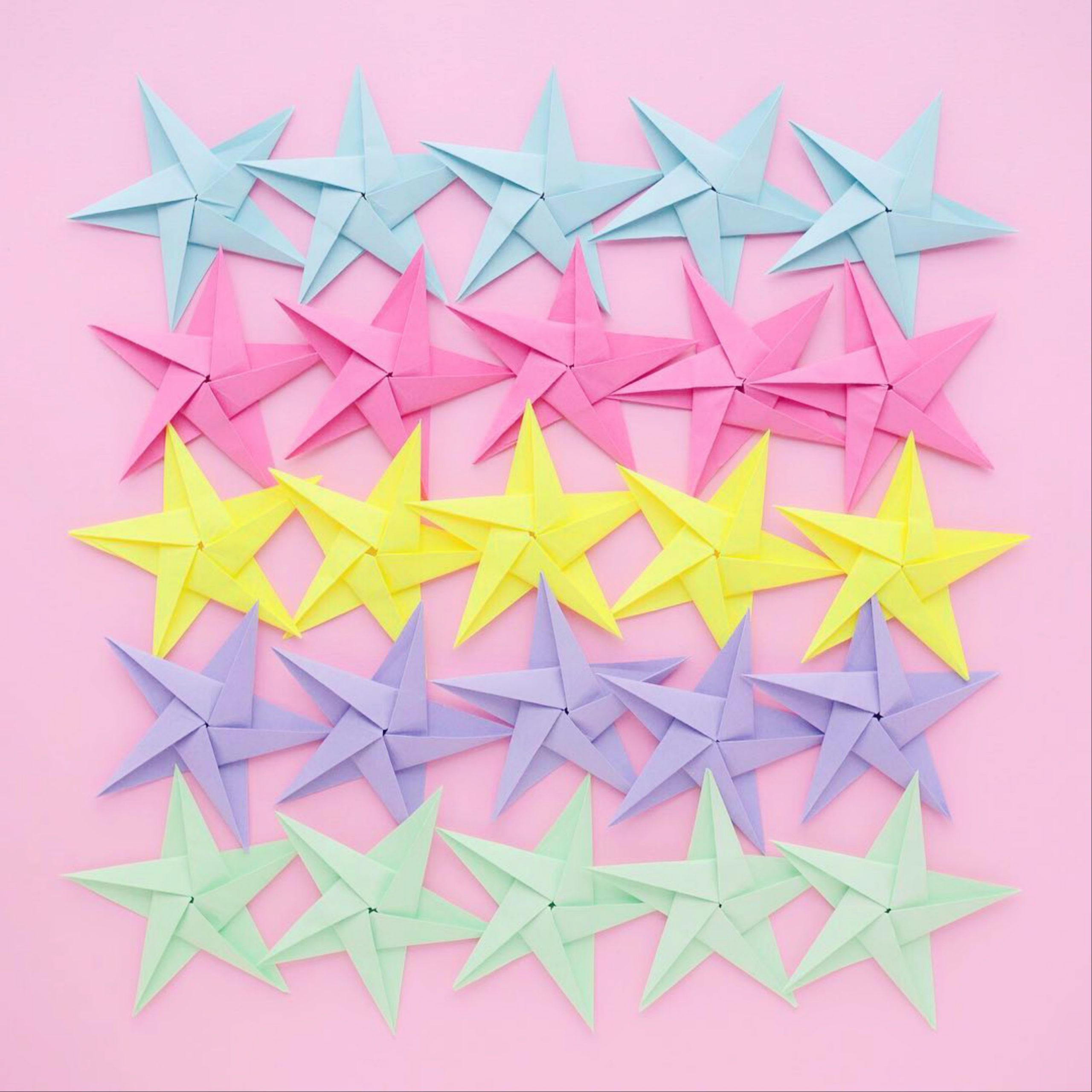 Star shapes made with colorful paper