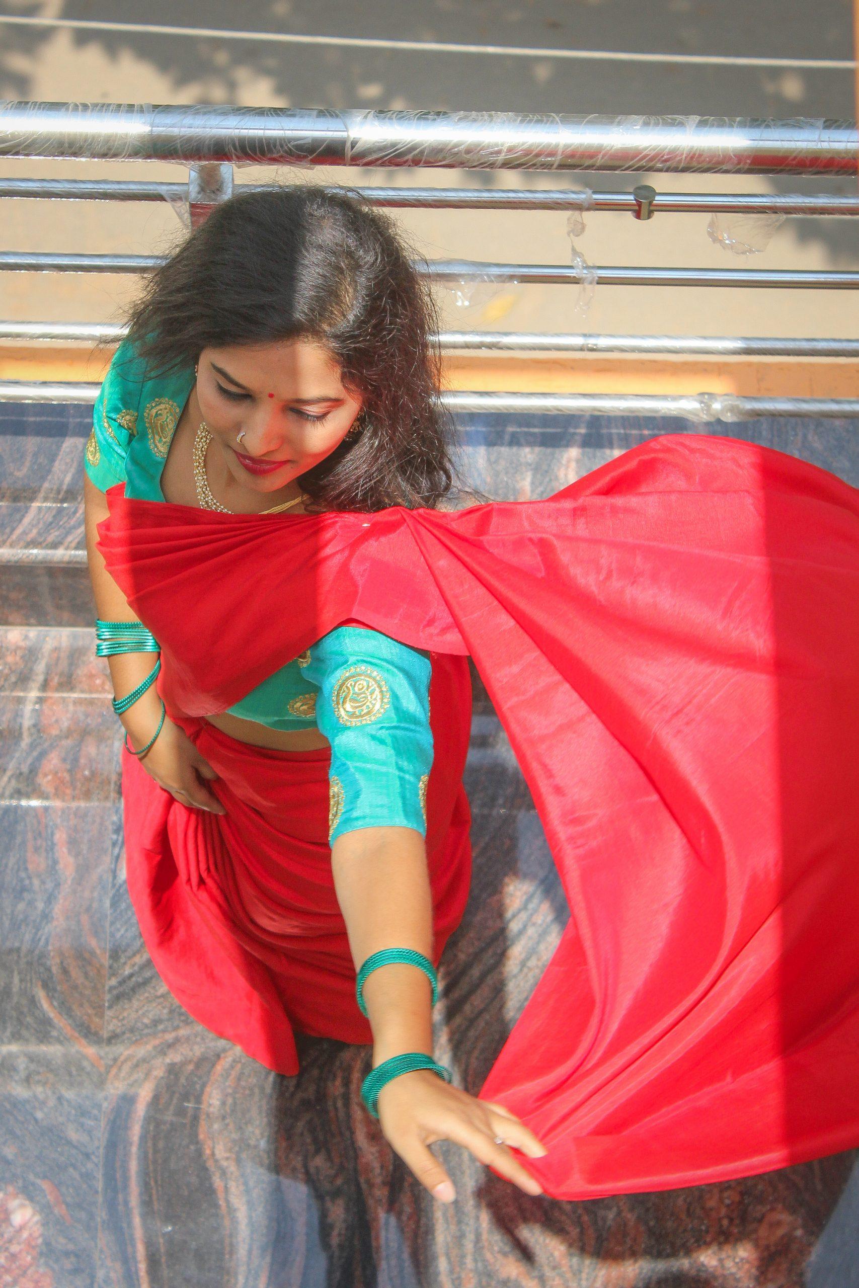 Stylish girl model posing In Saree