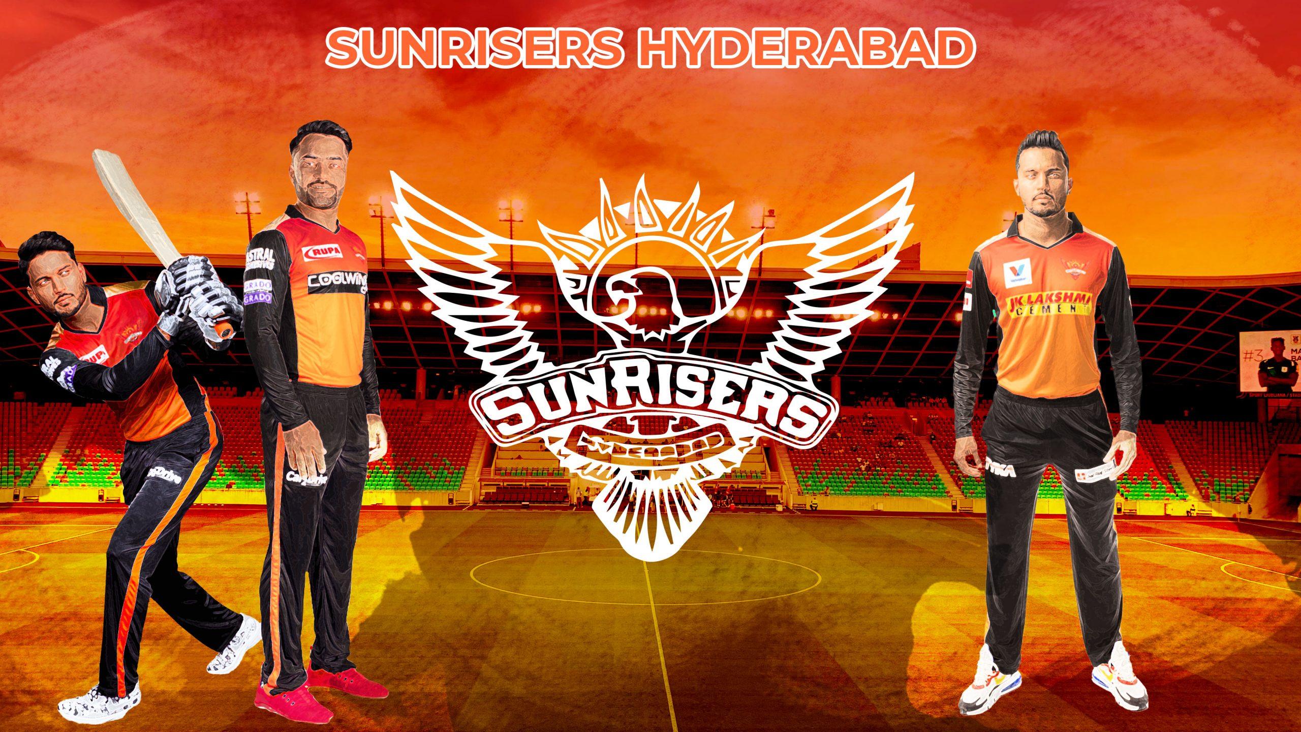 Illustration of Sunrisers Hyderabad logo and player