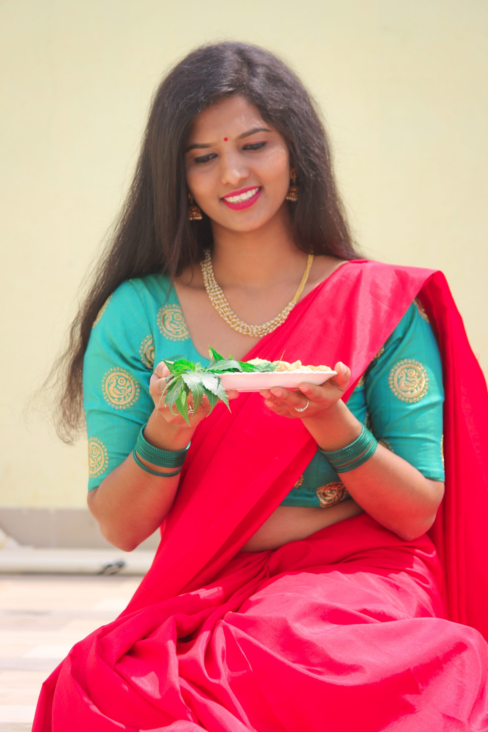A woman celebrating Gudi padwa festival