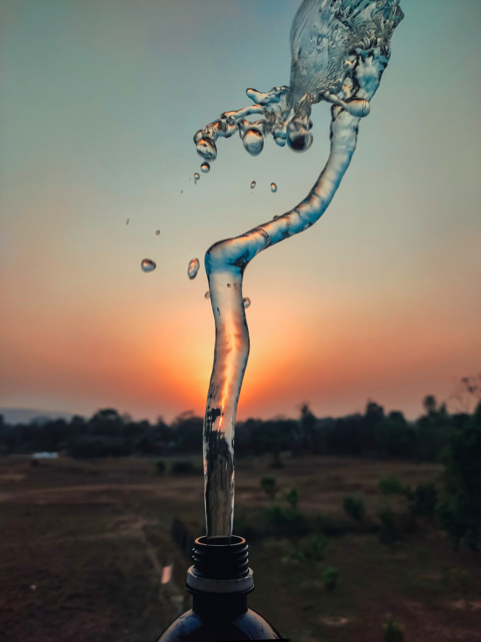 Water splashing from bottle