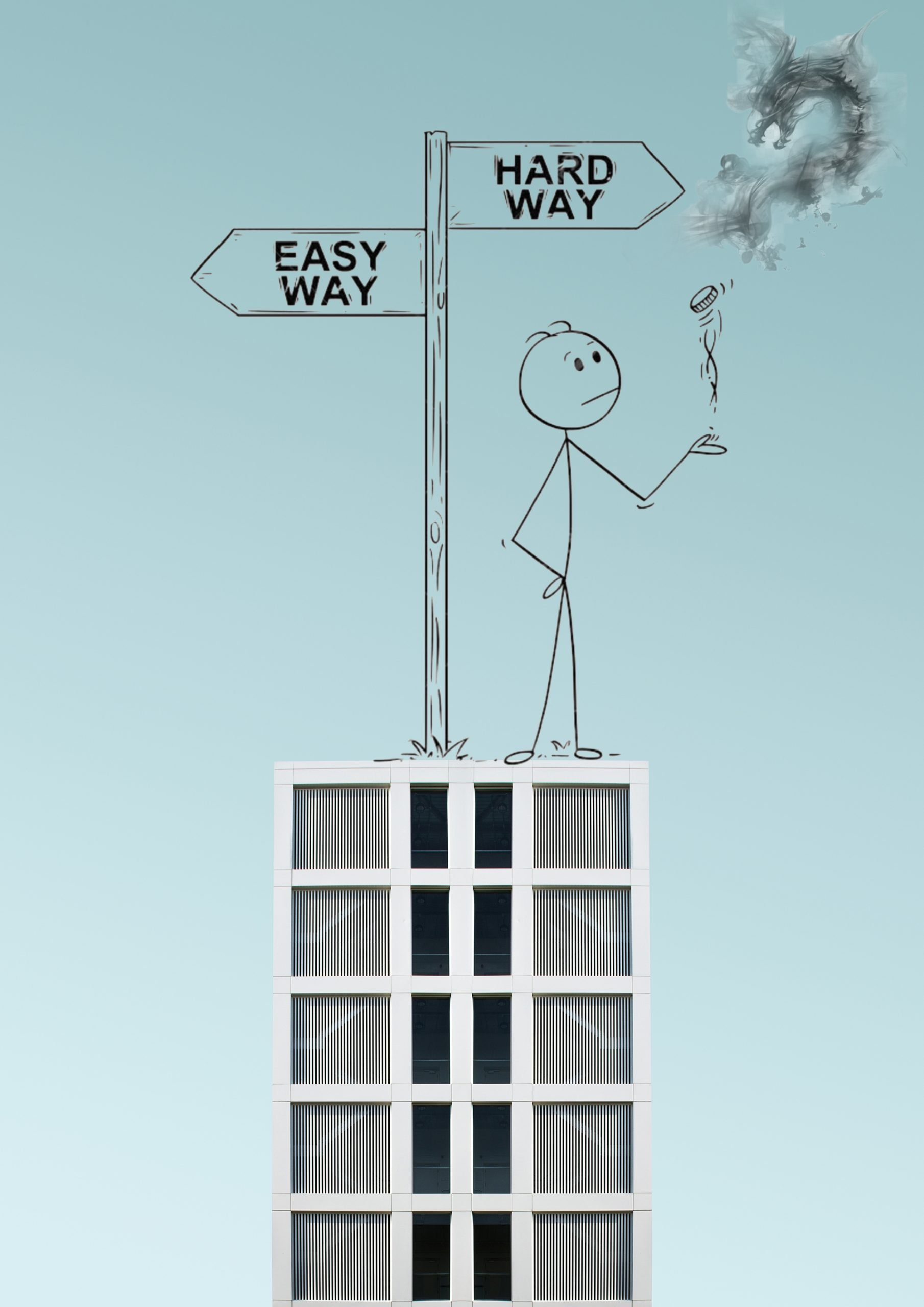 Easy and hard way illustration